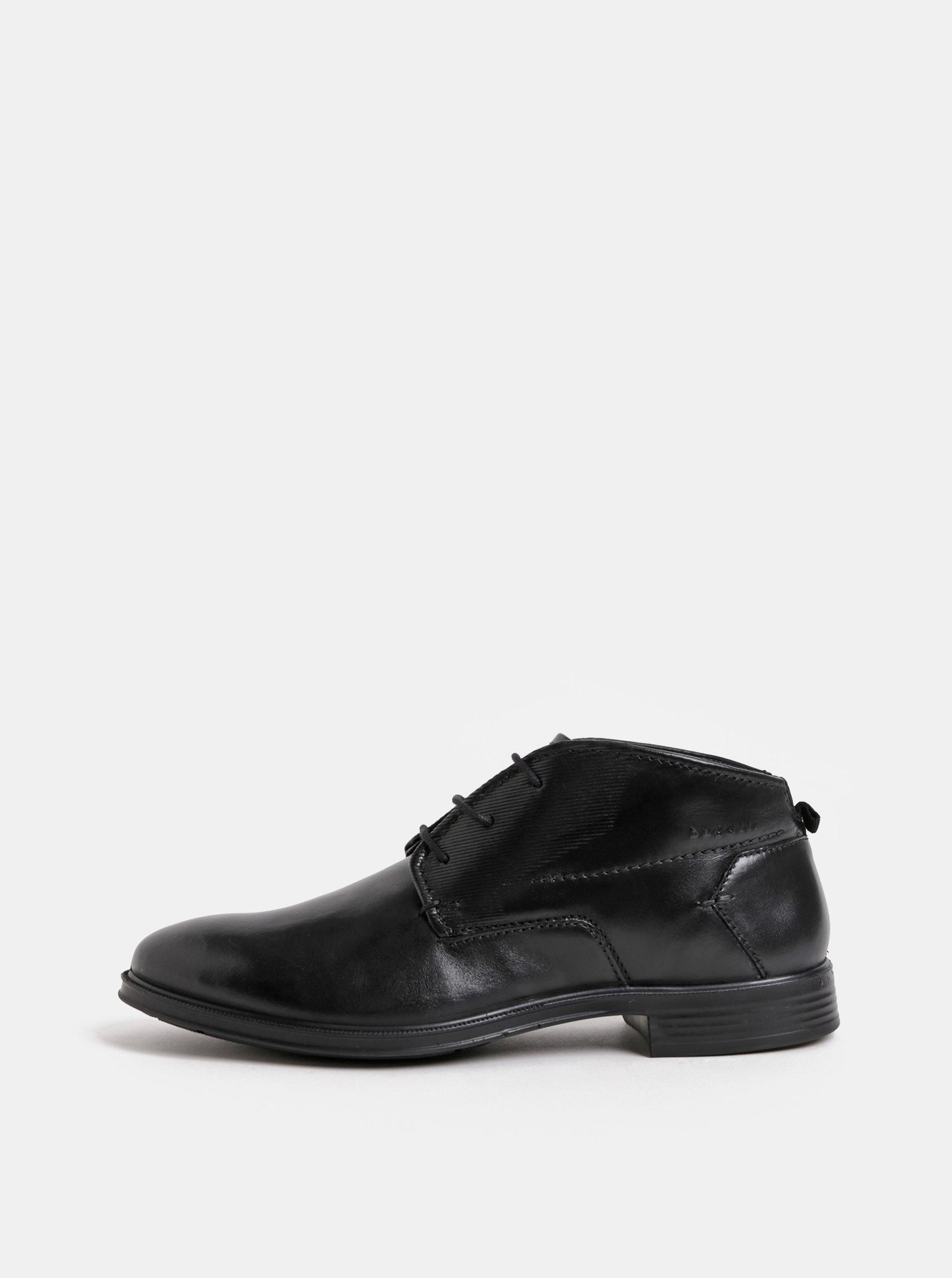 Čierne pánske kožené členkové topánky bugatti Leolo ... 7b346bd9d2
