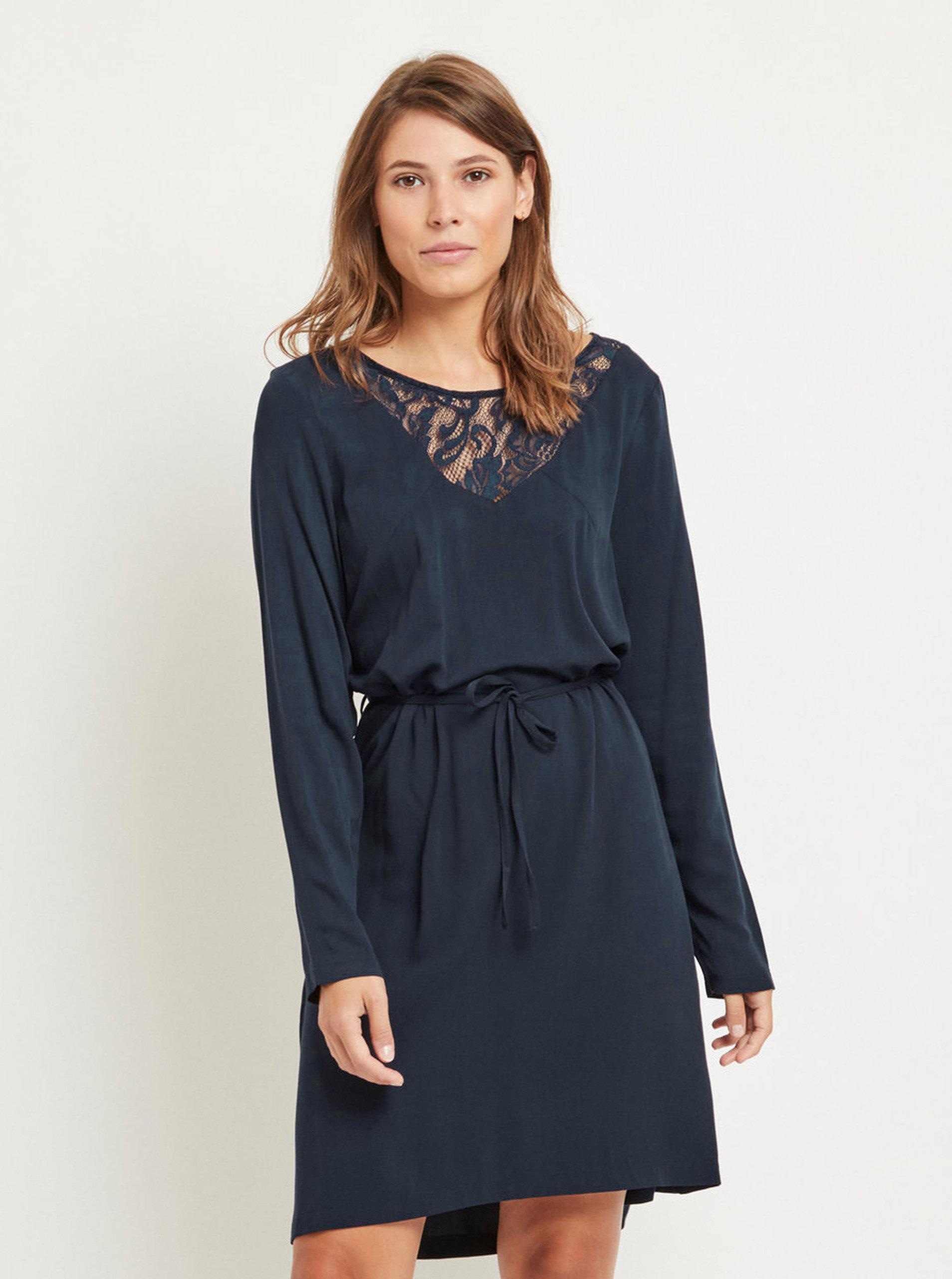 18bd84c9d996 Tmavě modré šaty s krajkou a páskem VILA Verly ...