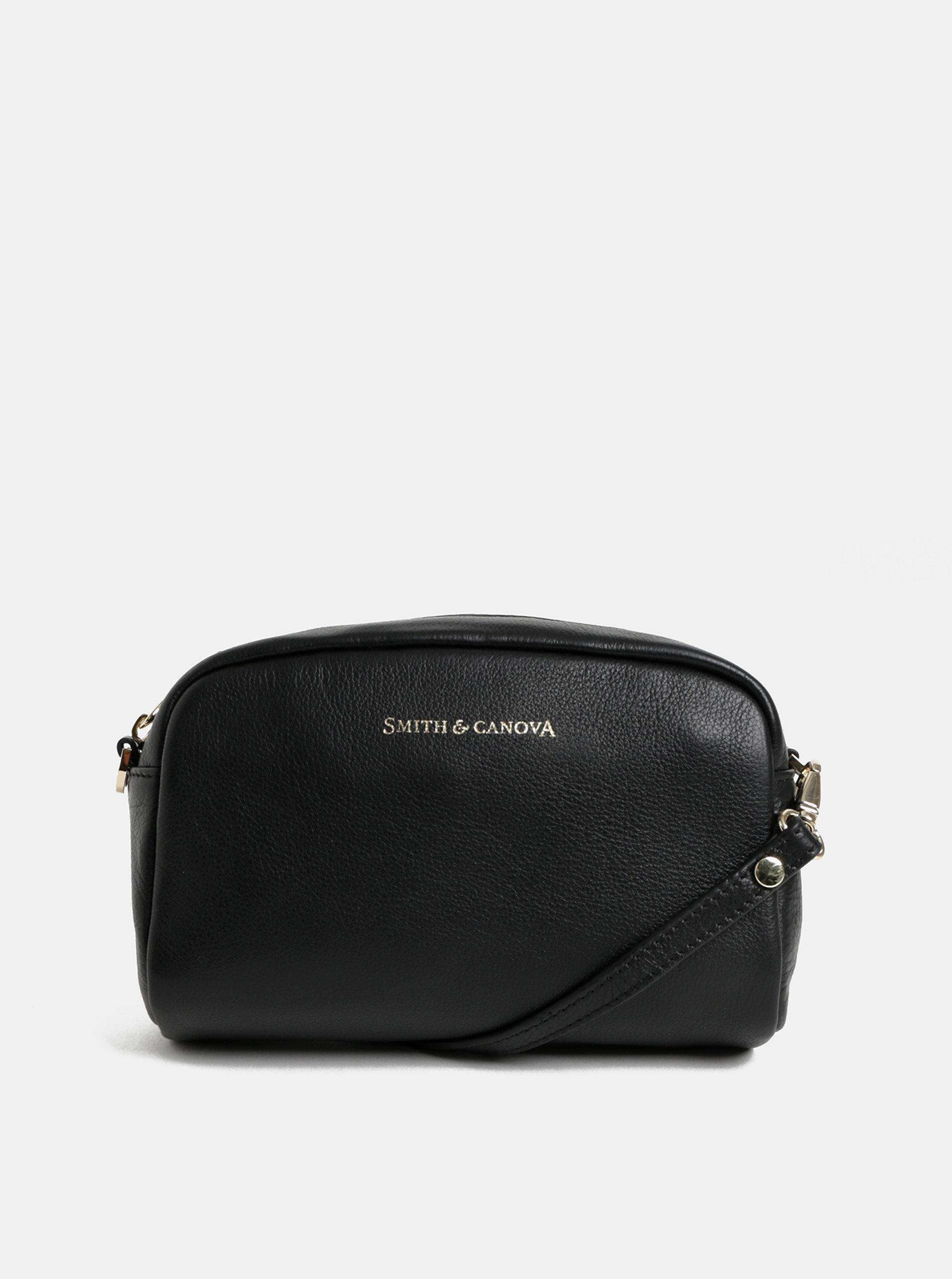 Čierna kožená malá crossbody kabelka Smith   Canova ... ac2950fd610