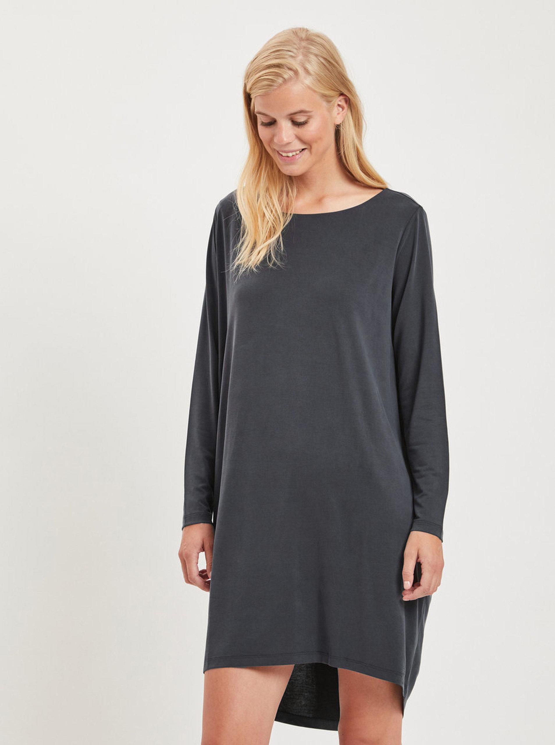 846f28c31d Tmavosivé voľné šaty s dlhým rukávom VILA Vitriny ...