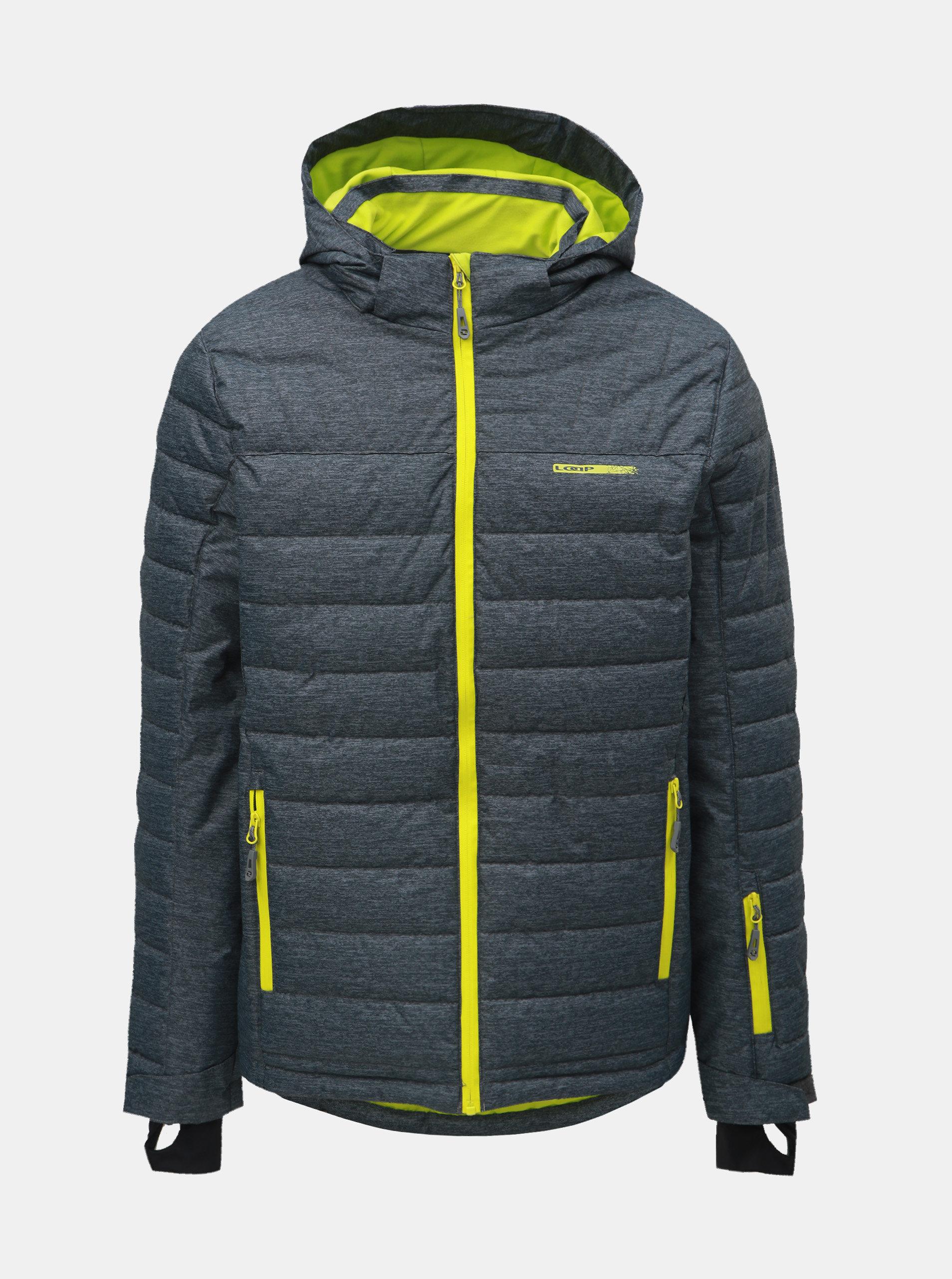 Sivá pánska melírovaná lyžiarska bunda s neónovými detailmi LOAP Omri ... 2a14fd0831f