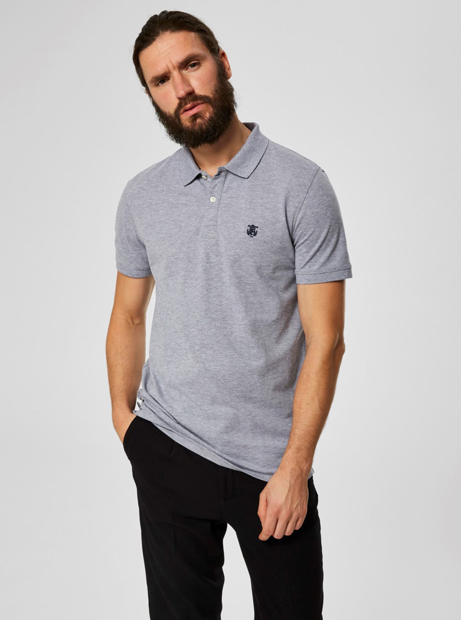 Šedé žíhané basic polo tričko s výšivkou Selected Homme Haro