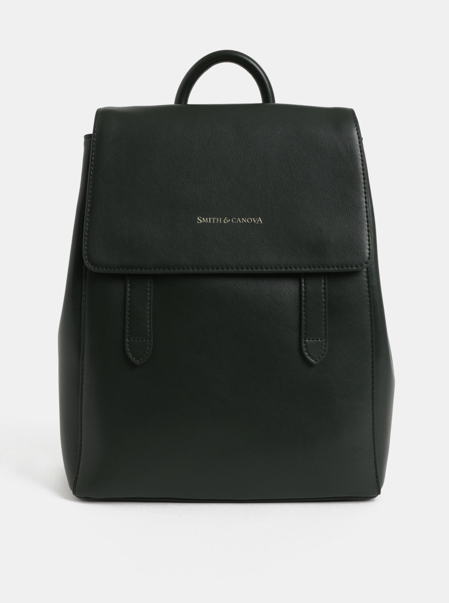 Tmavě zelený kožený batoh Smith   Canova ... 281b9f0b4e