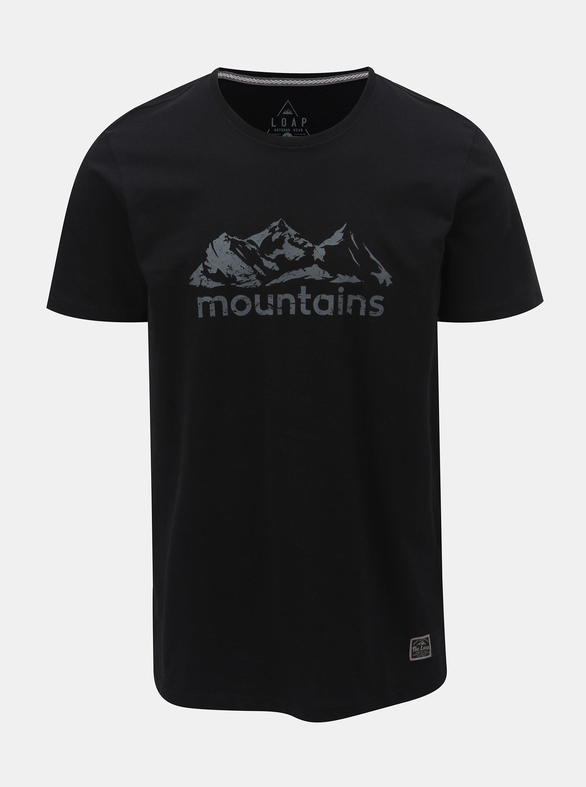b343480c6f75 Čierne pánske tričko s krátkym rukávom a potlačou LOAP Buson ...