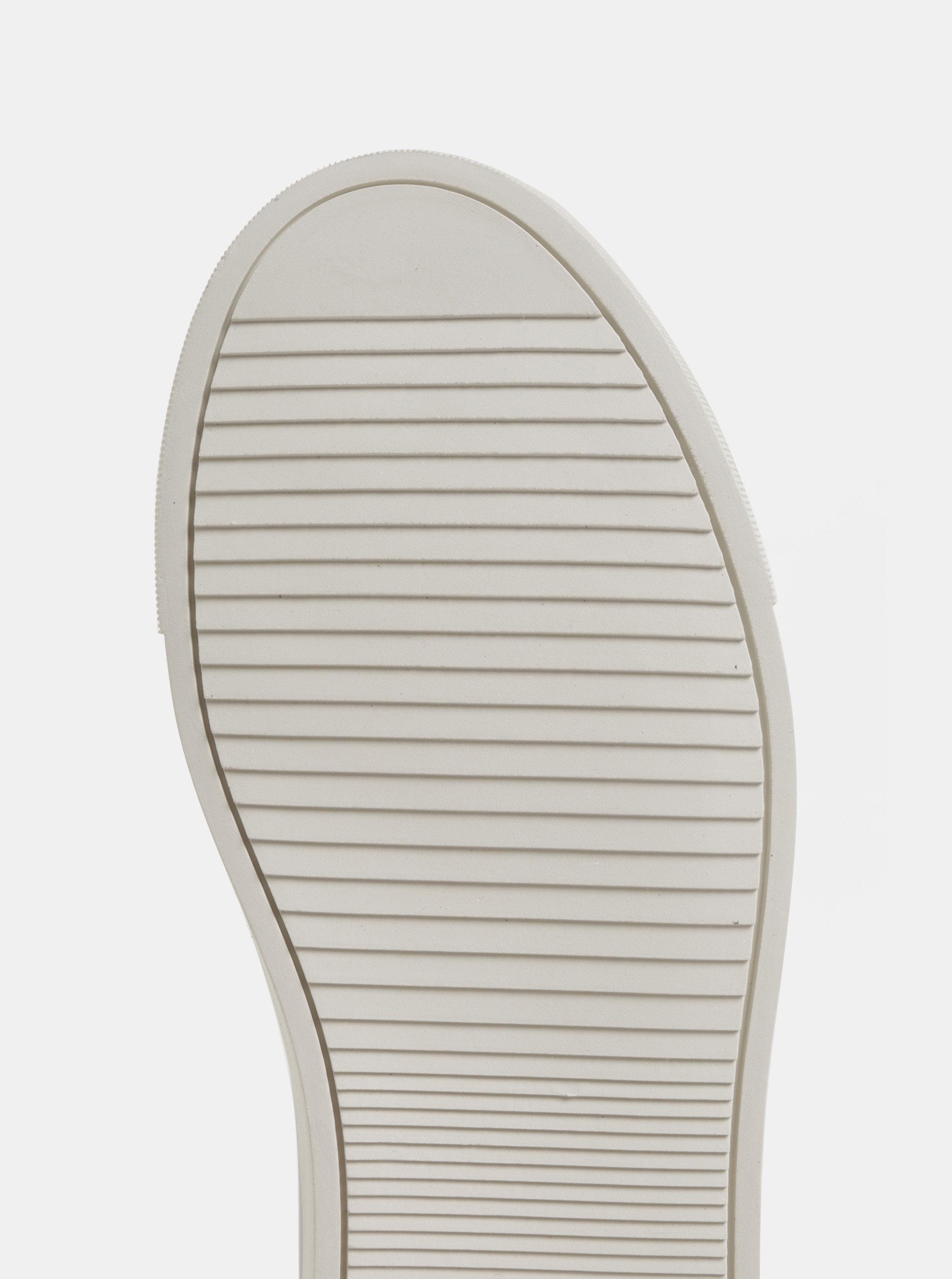 Kožené tenisky ve stříbrné barvě s metalickými odlesky a gumovou aplikací  KARL LAGERFELD ... 5f9442908c