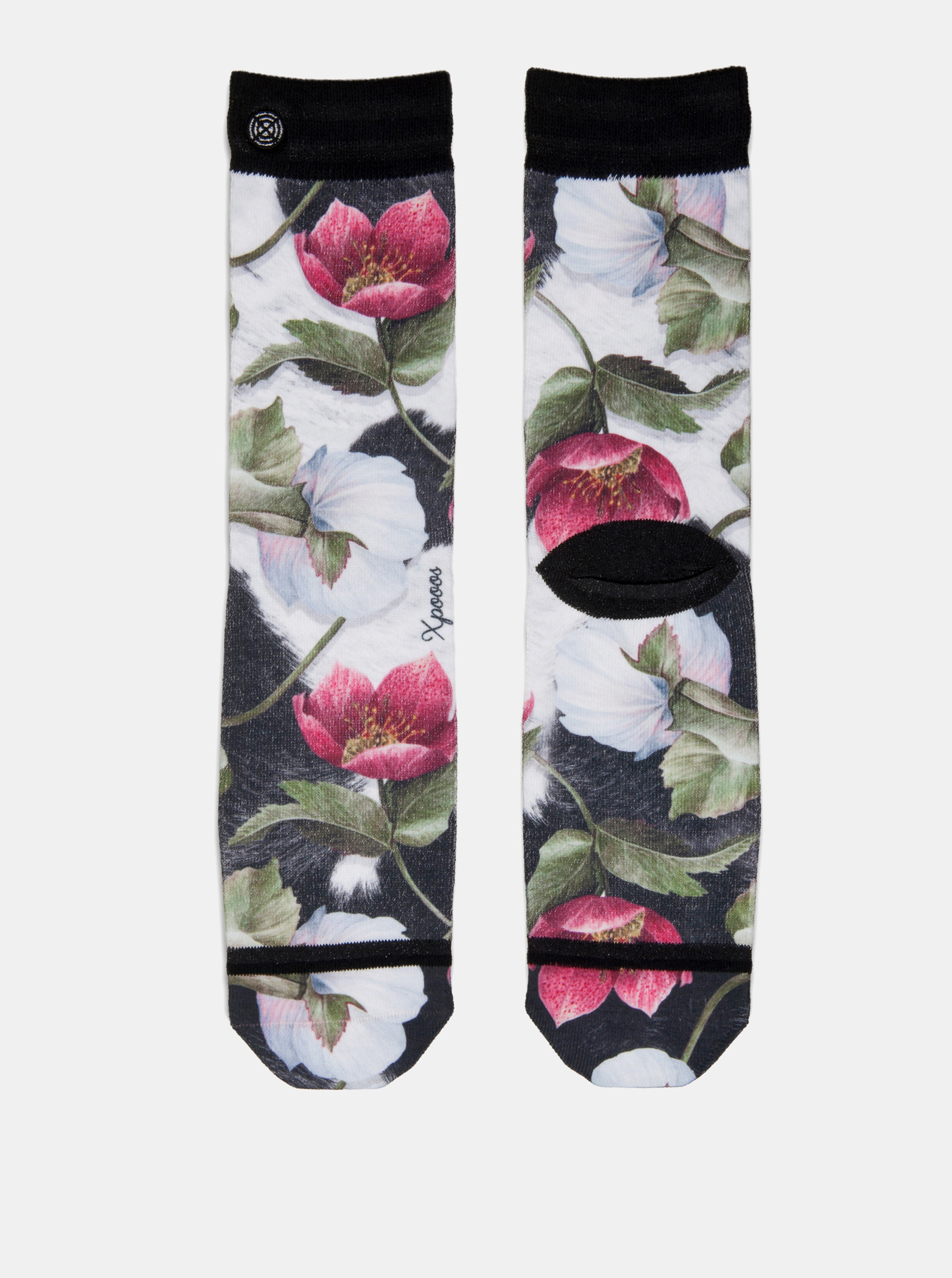 d2775b0e606 Černo-bílé dámské květované ponožky XPOOOS ...