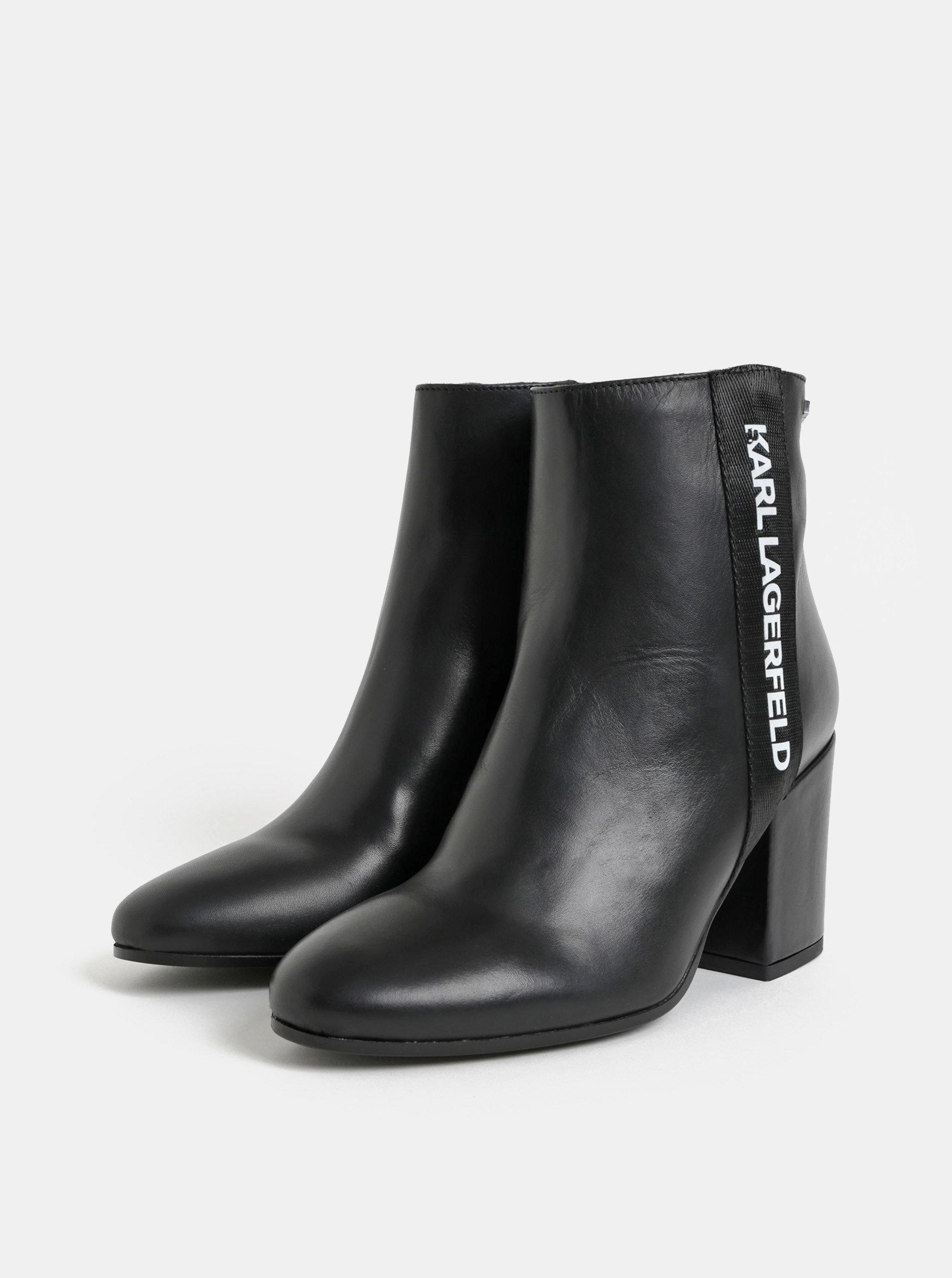 64d77b4a48f67 Čierne kožené členkové topánky na vysokom podpätku KARL LAGERFELD ...