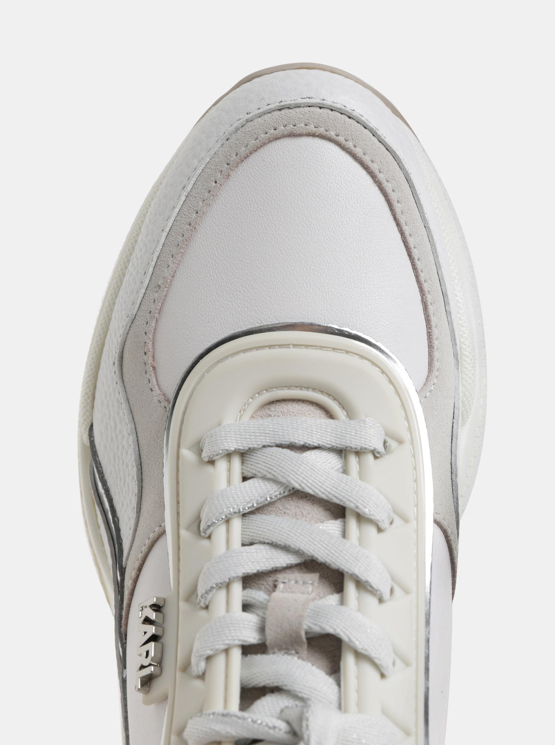 5df99ac1b5a4a Biele kožené tenisky so semišovými detailmi KARL LAGERFELD   ZOOT.sk