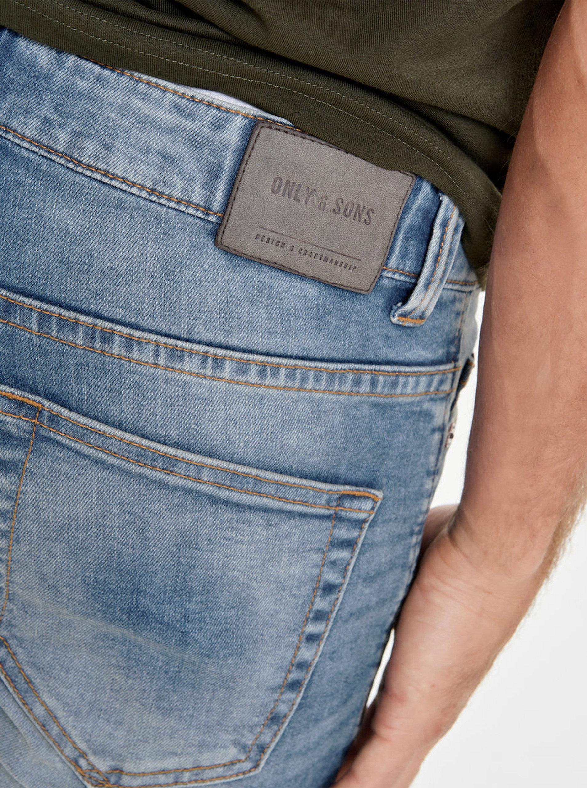 Tmavě modré slim džíny s výrazným vyšisovaným efektem ONLY   SONS Loom ... 2ea9d7163f
