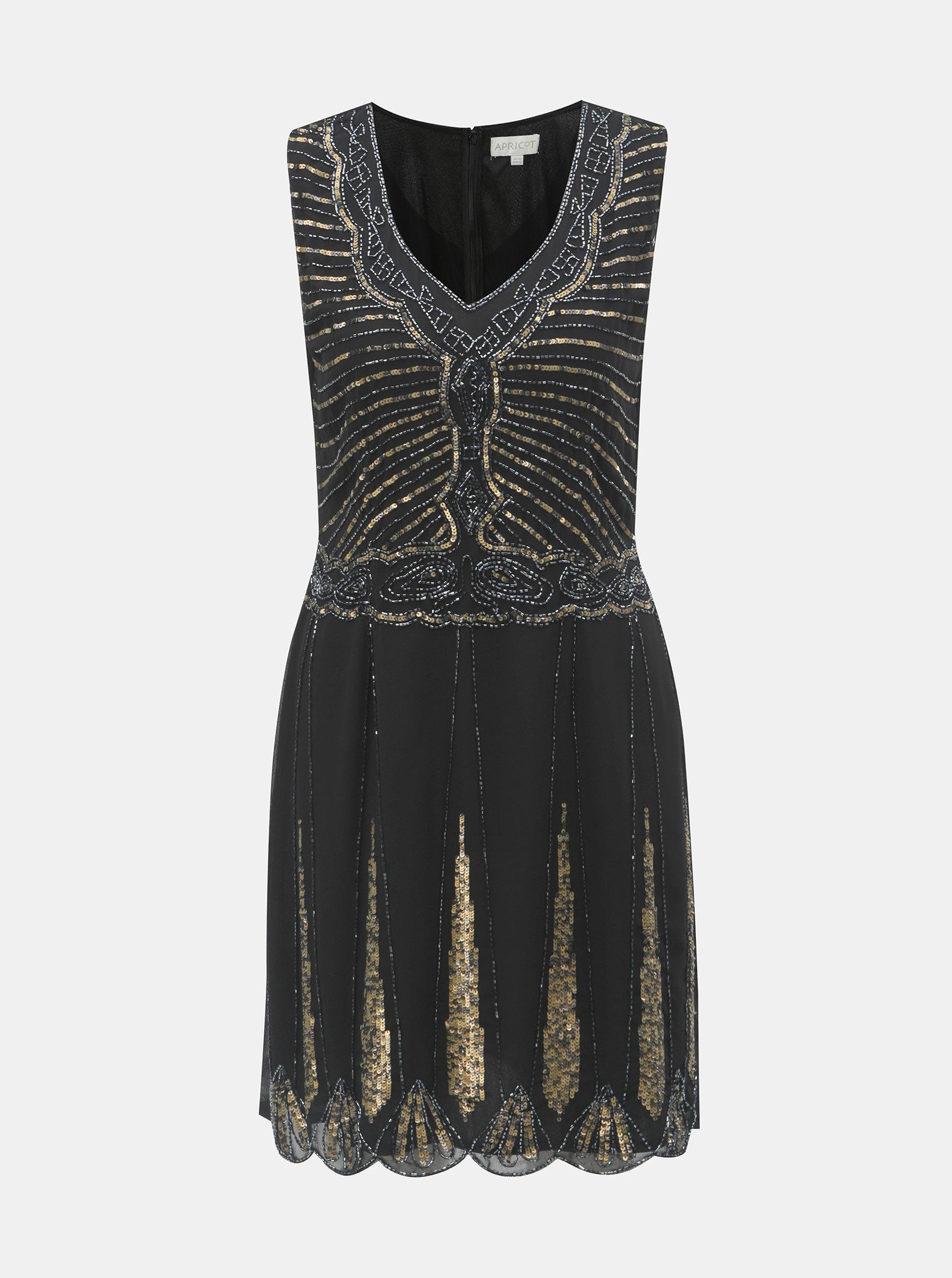 a4e8357e5f Čierne šaty s ozdobnými korálkami a flitrami Apricot ...