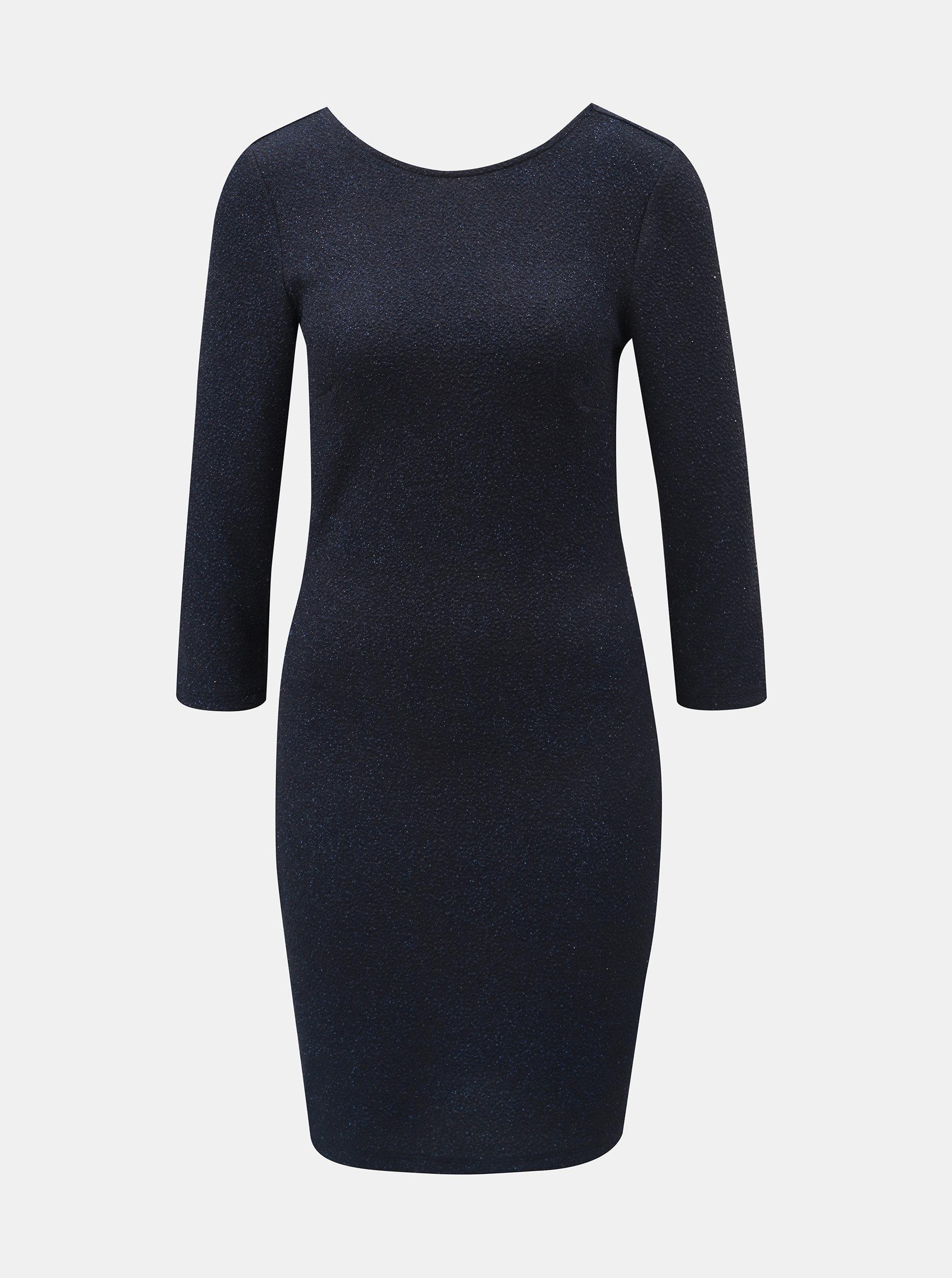 Tmavě modré třpytivé pouzdrové šaty s 3 4 rukávem Jacqueline de Yong ... dd962f12d7