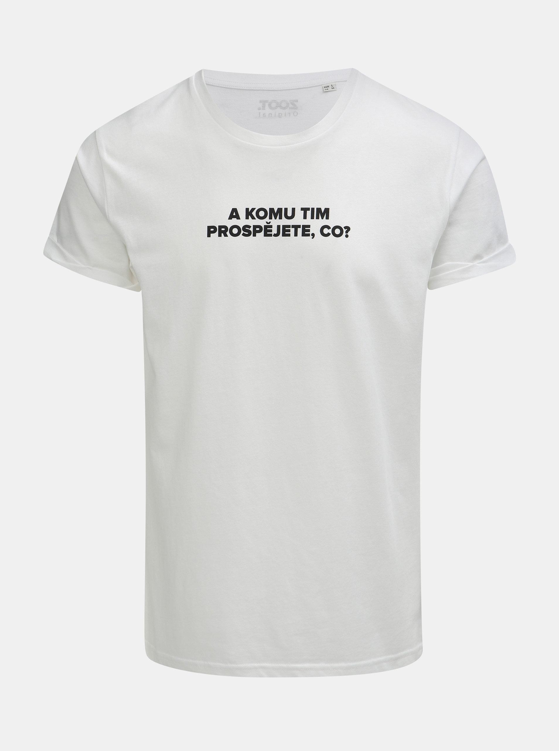 fe344e4fe472 Biele pánske tričko s potlačou ZOOT Original Komu tim prospějete ...
