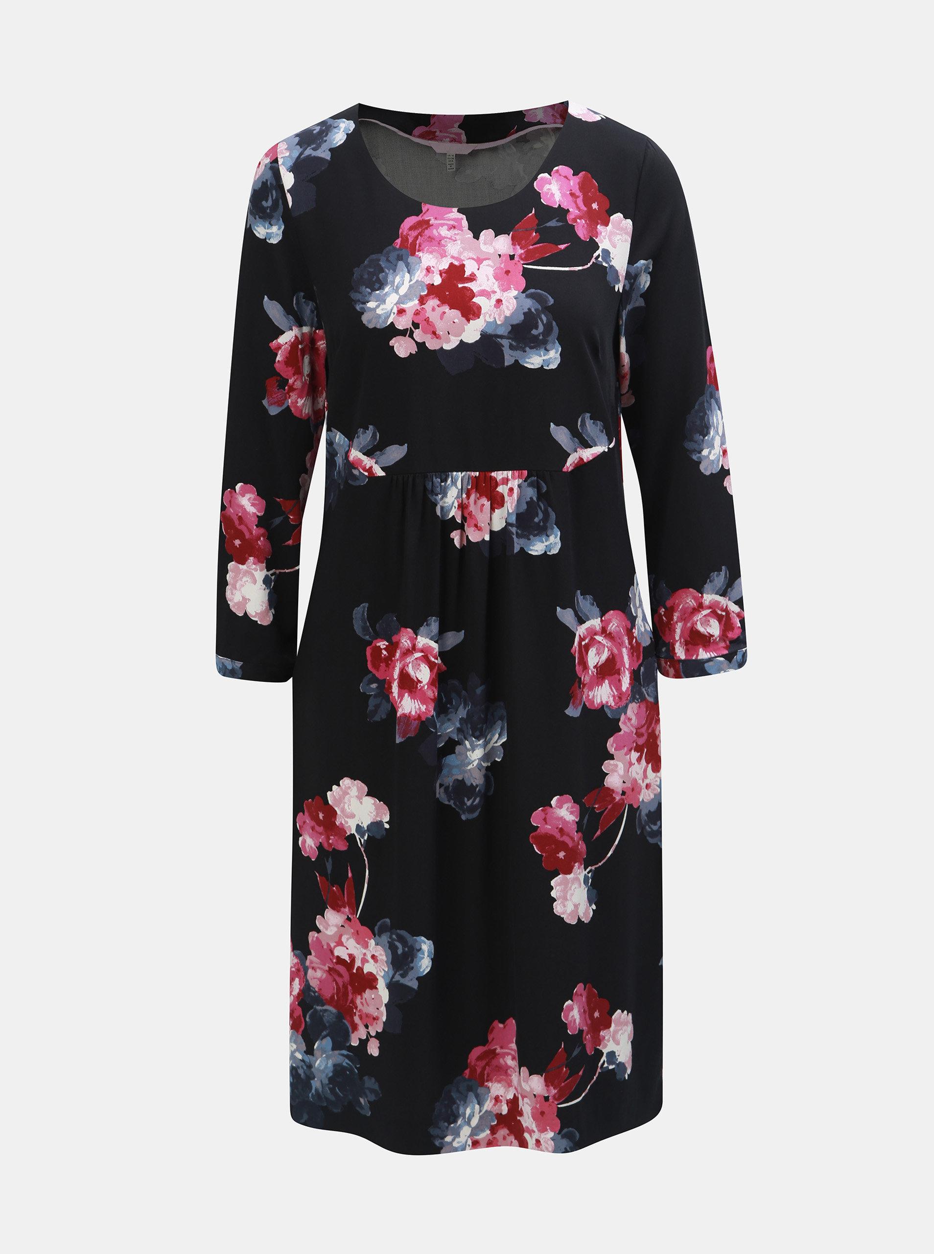 ff851f221a65 Ružovo–čierne damske kvetované šaty s 3 4 rukávom Tom Joule ...