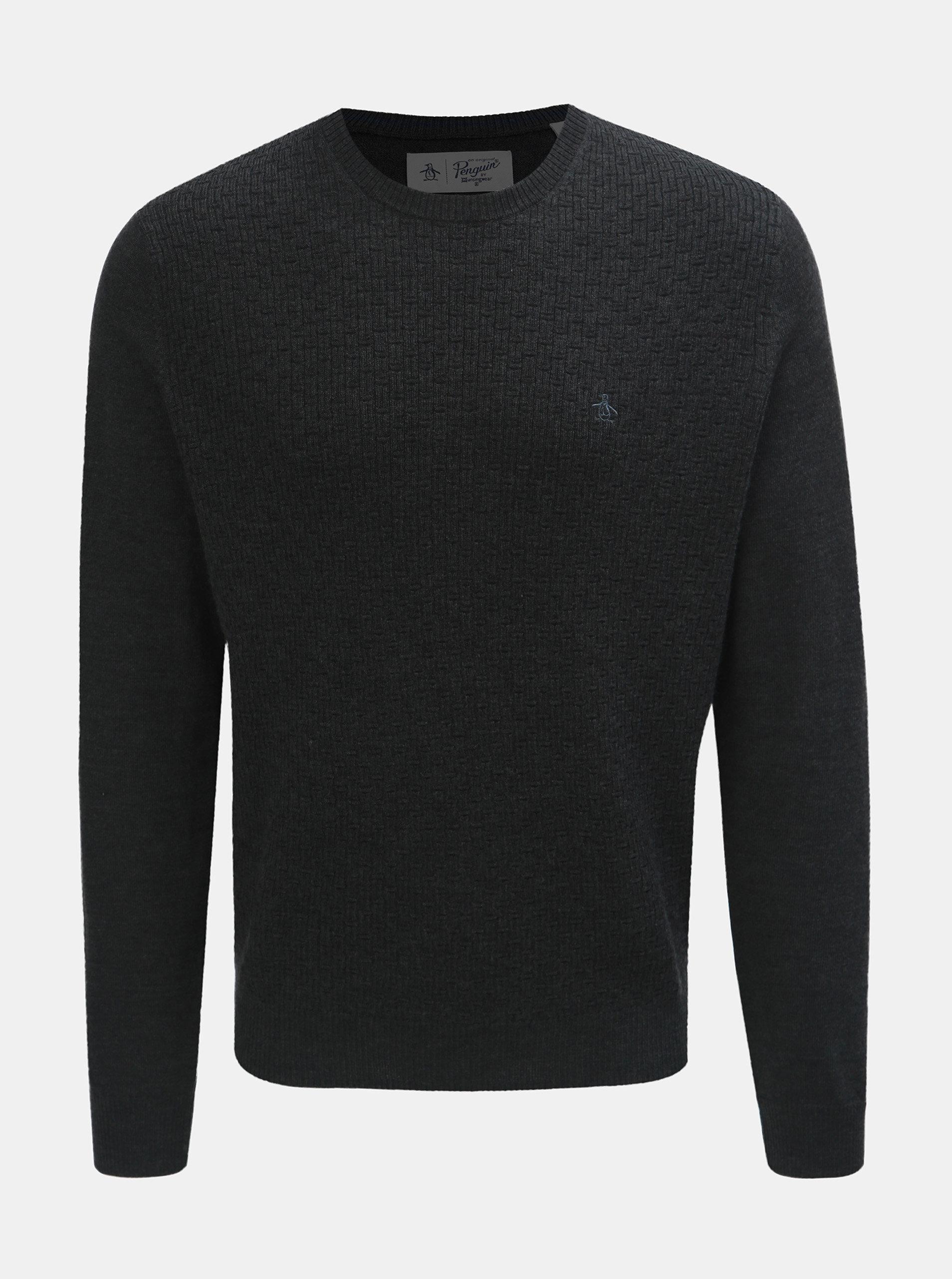 36aa0ae5c443 Tmavosivý sveter z Merino vlny Original Penguin ...