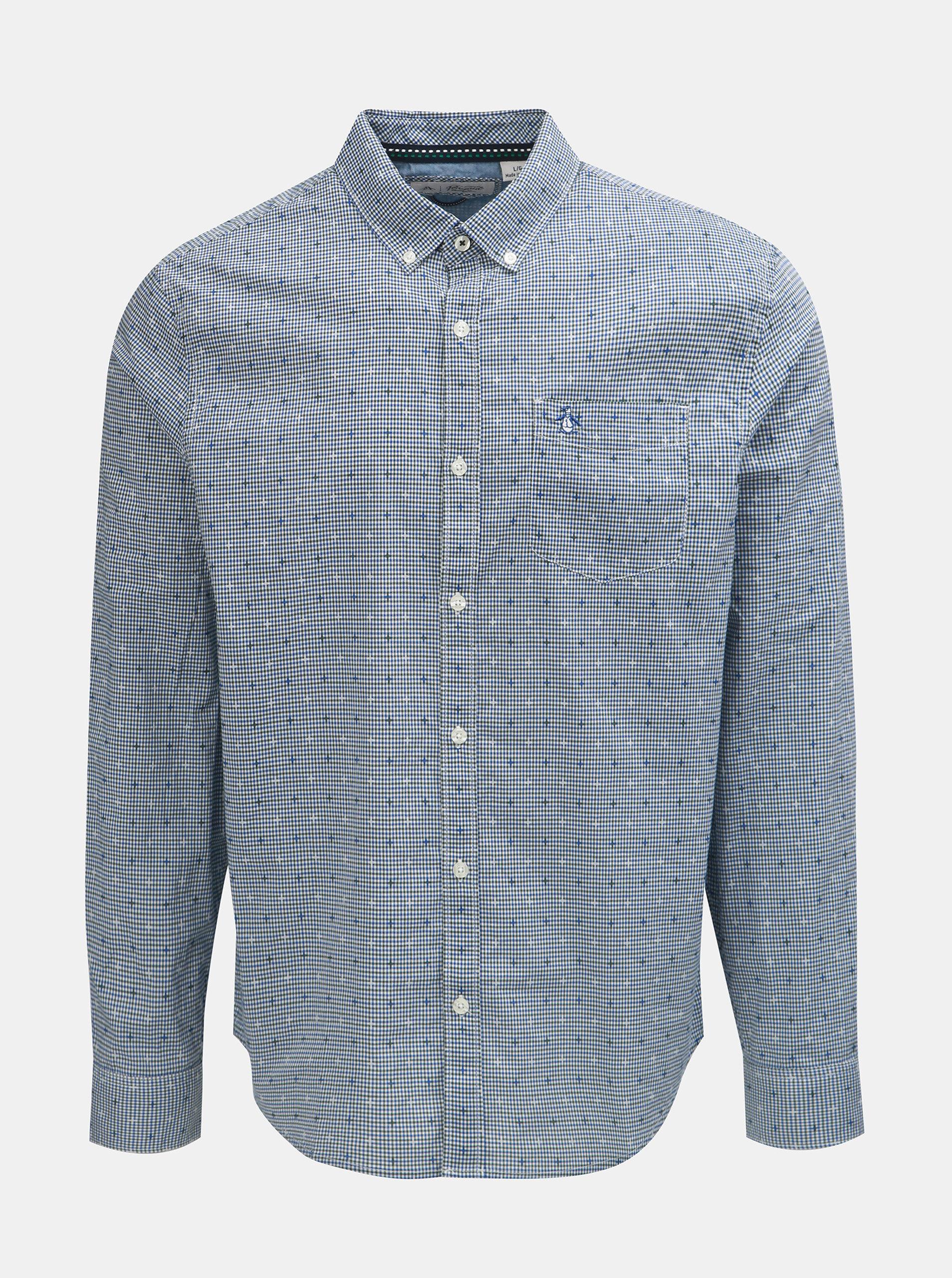 Modrá kostkovaná košile s náprsní kapsou Original Penguin ... 1cae8abc1b