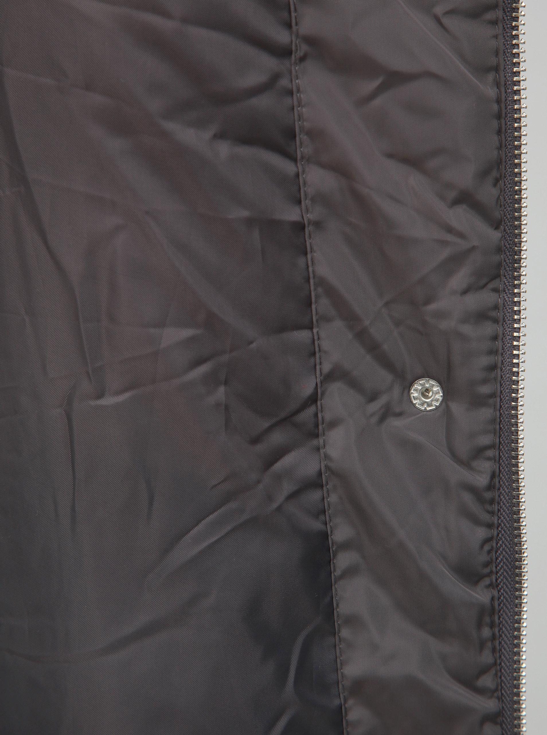 Sivá zimná bunda s odnímateľným golierom z umelej kožušiny Dorothy Perkins  ... b2098a93b25