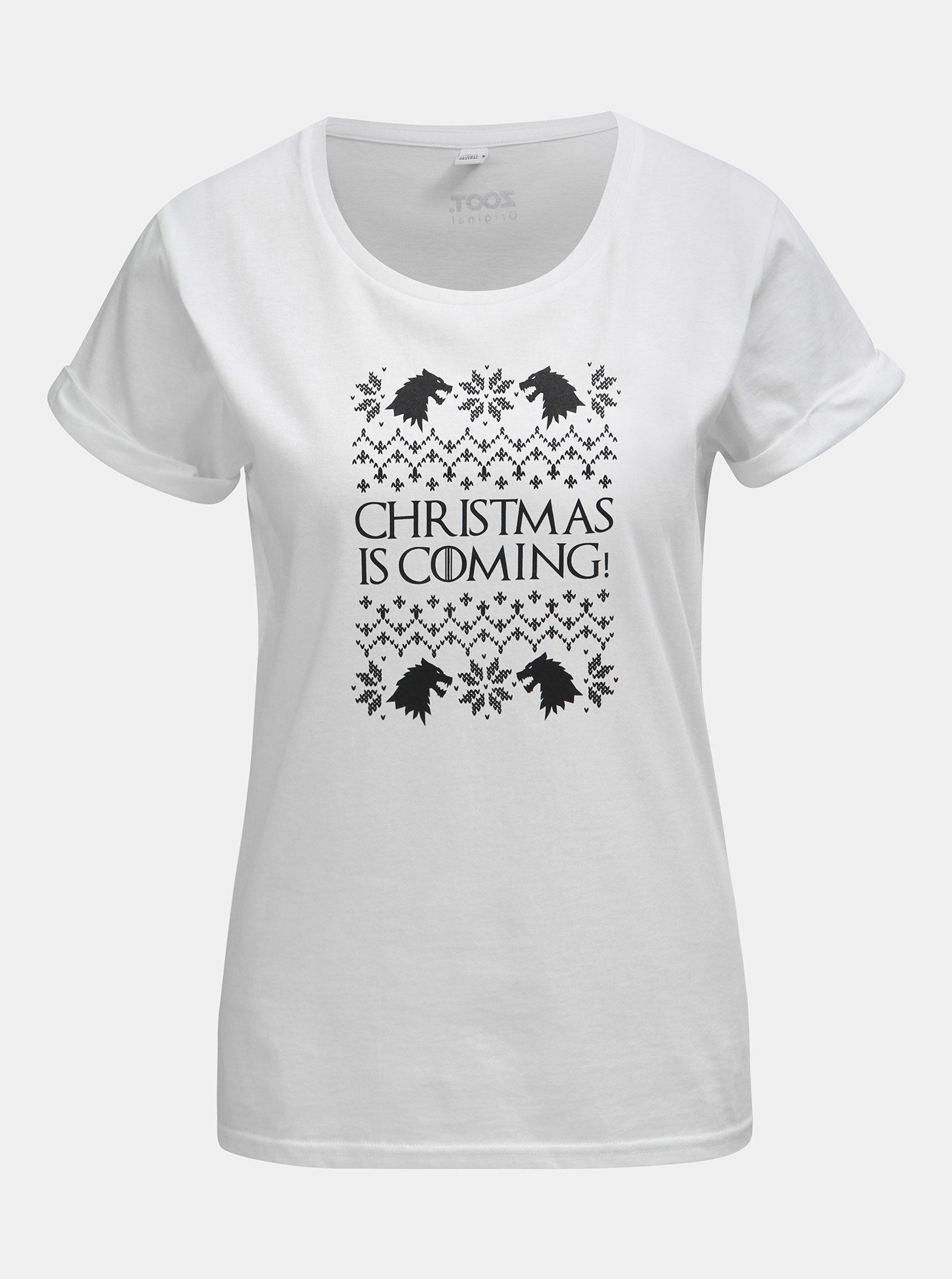 e9441ccdcb00 Biele dámske tričko s potlačou ZOOT Original Christmas is coming ...