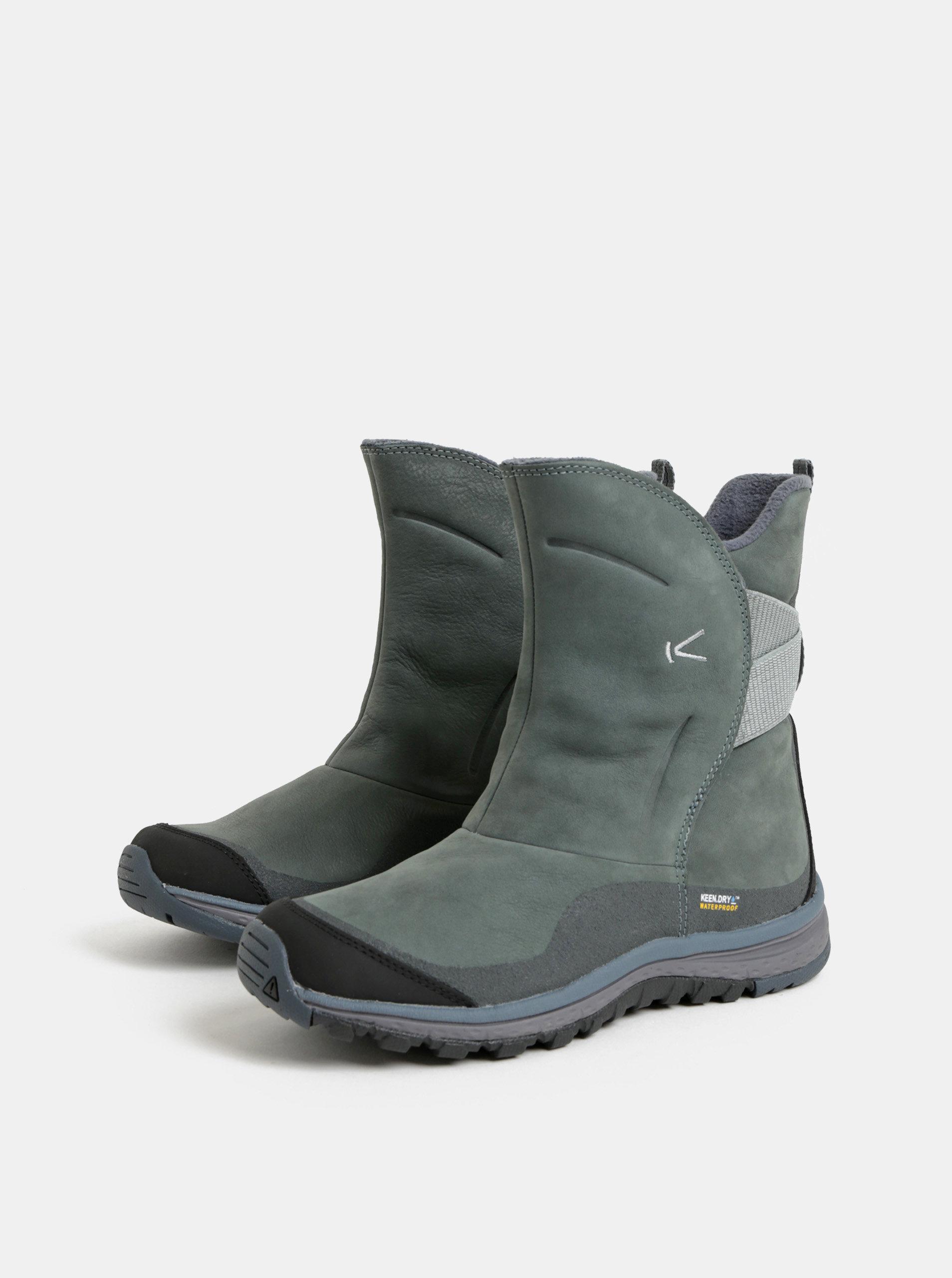Zelené dámské kožené voděodolné zimní boty Keen Lea ... 197bc49c5d