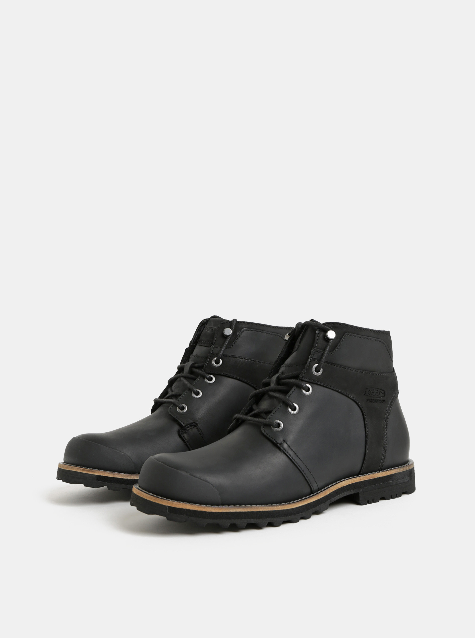 Černé pánské kožené voděodolné kotníkové boty Keen Rocker ... 88644f3f9b