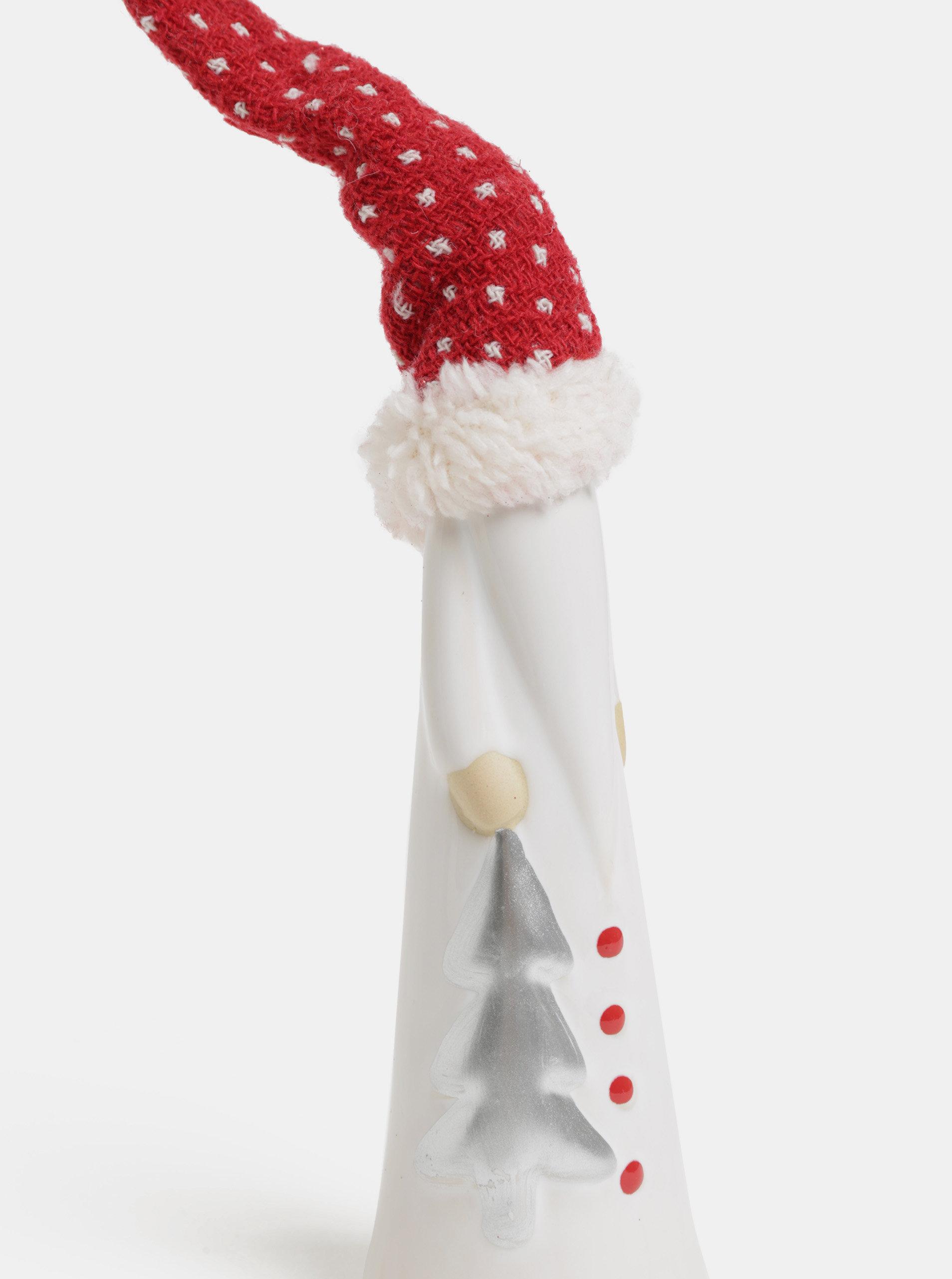 Červeno-bílá vánoční dekorace ve tvaru skřítka se stromečkem SIFCON ... 1841ef496e