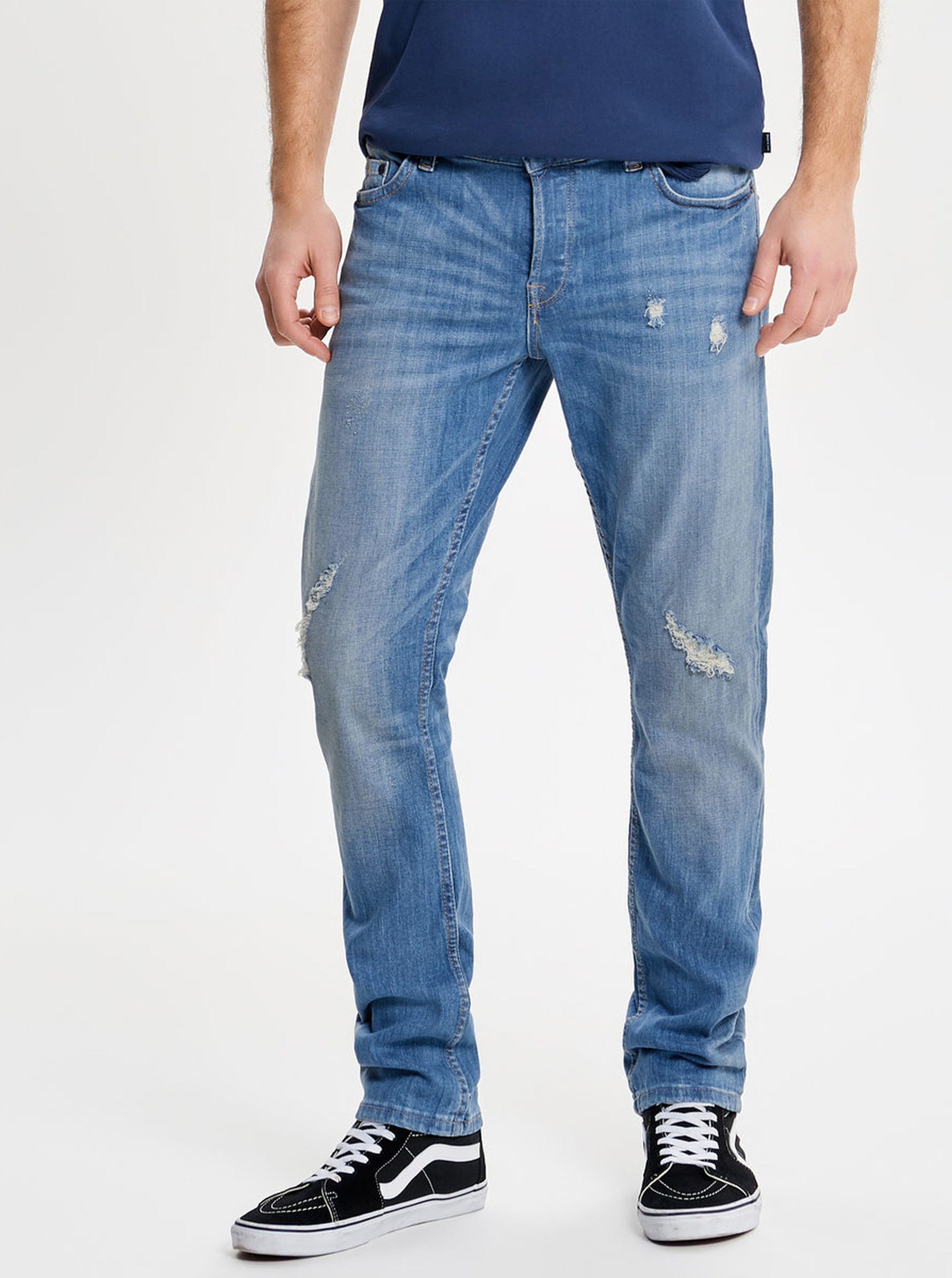 Modré slim fit džíny s potrhaným efektem ONLY   SONS Loom ... 7737d3d208