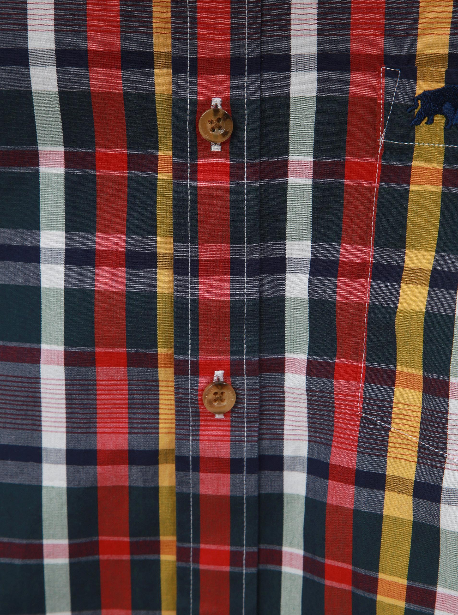 bfbd6709d97 Modro-červená kostkovaná košile s dlouhým rukávem Raging Bull ...