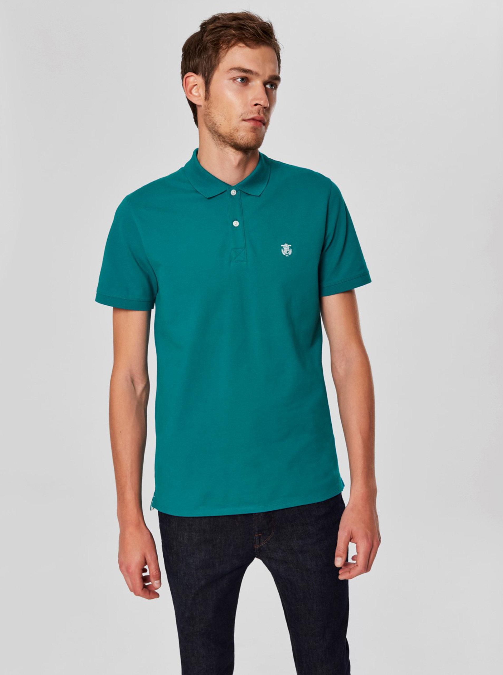 Tyrkysové basic polo tričko s výšivkou Selected Homme Haro