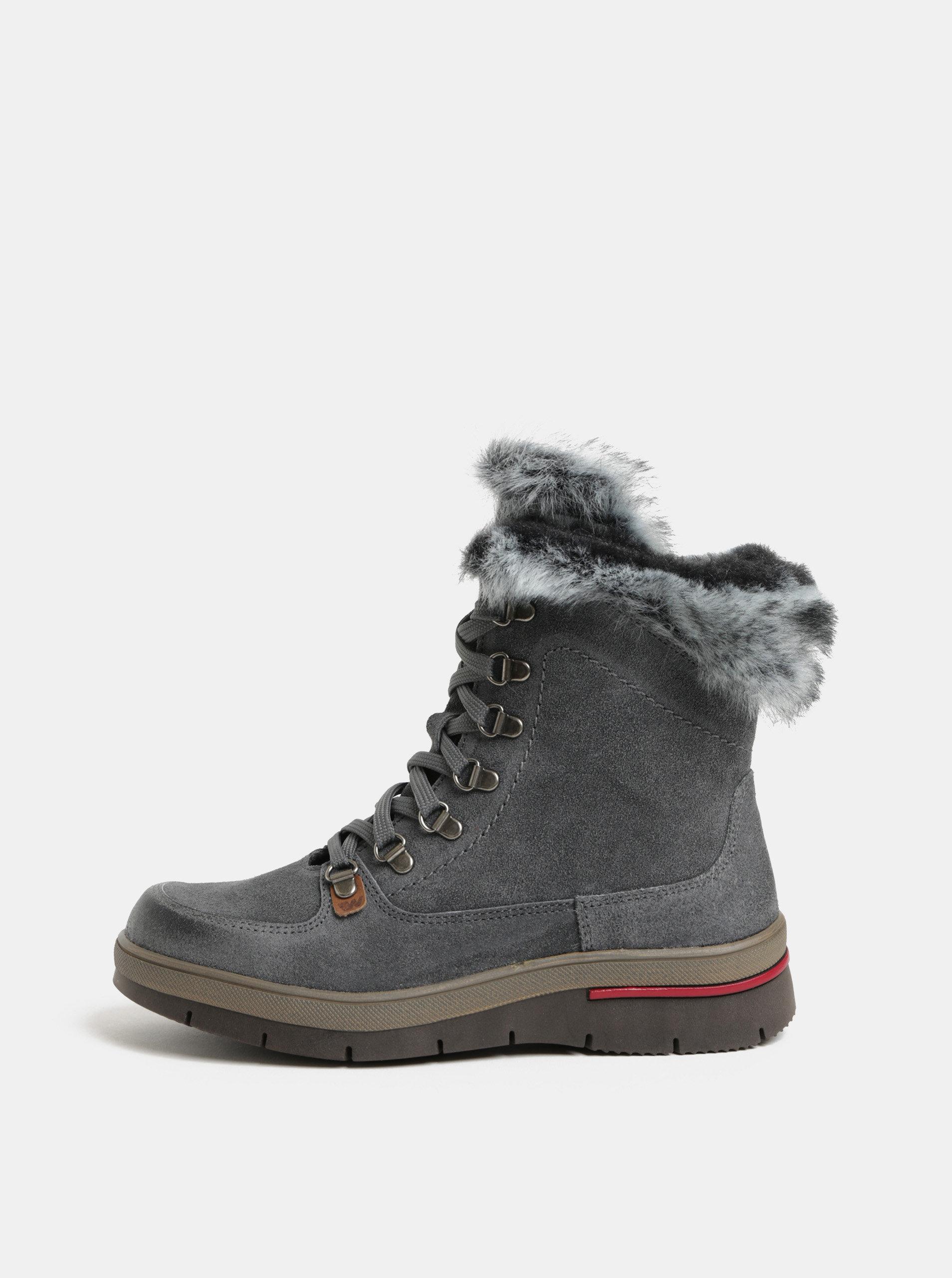 Šedé dámské semišové kotníkové boty s vnitřním umělým kožíškem Weinbrenner  ... 56d369b998b