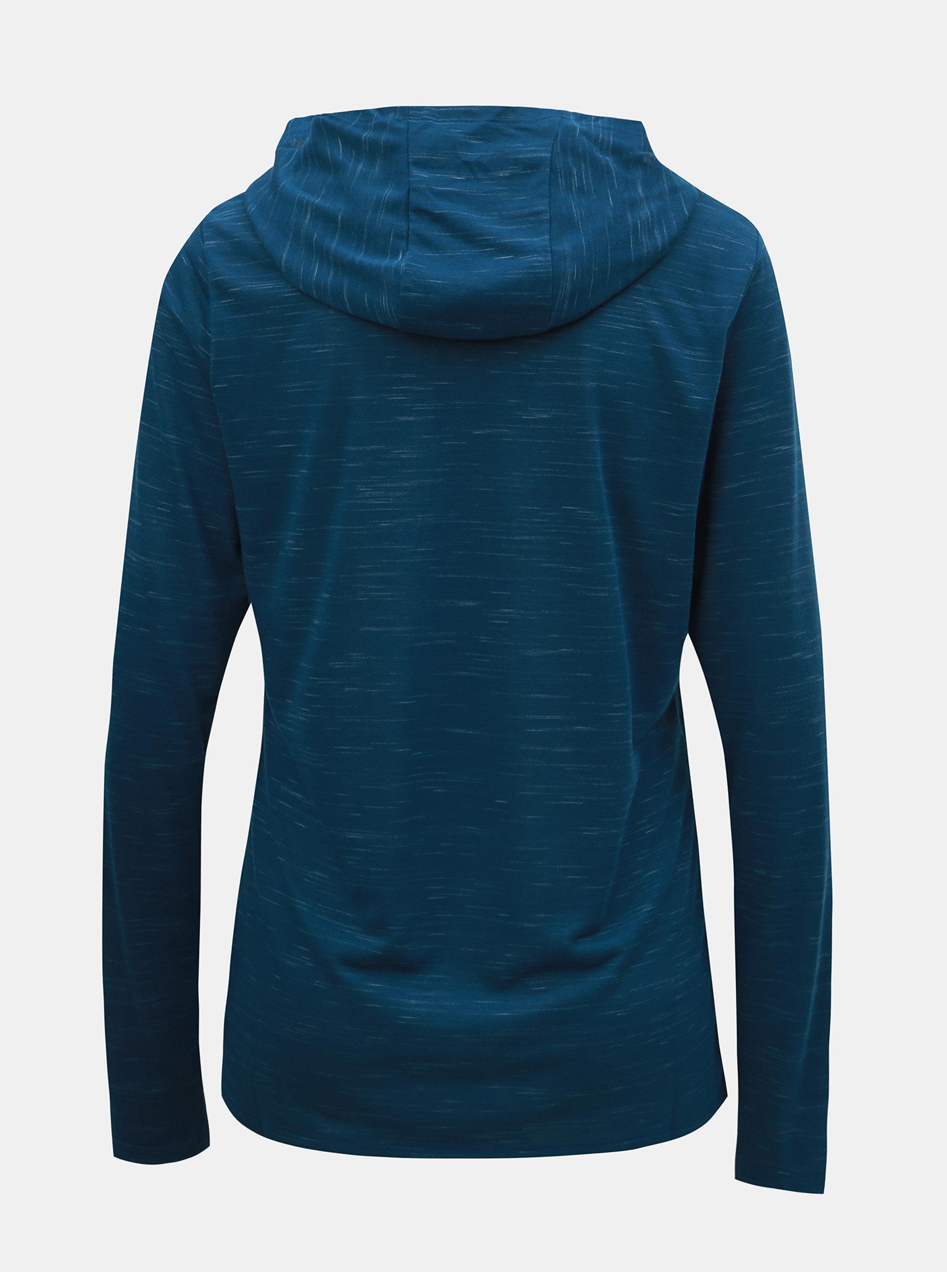 Modré dámske melírované tričko s dlhým rukávom a kapucňou Nike ... 09cf0adf4f8