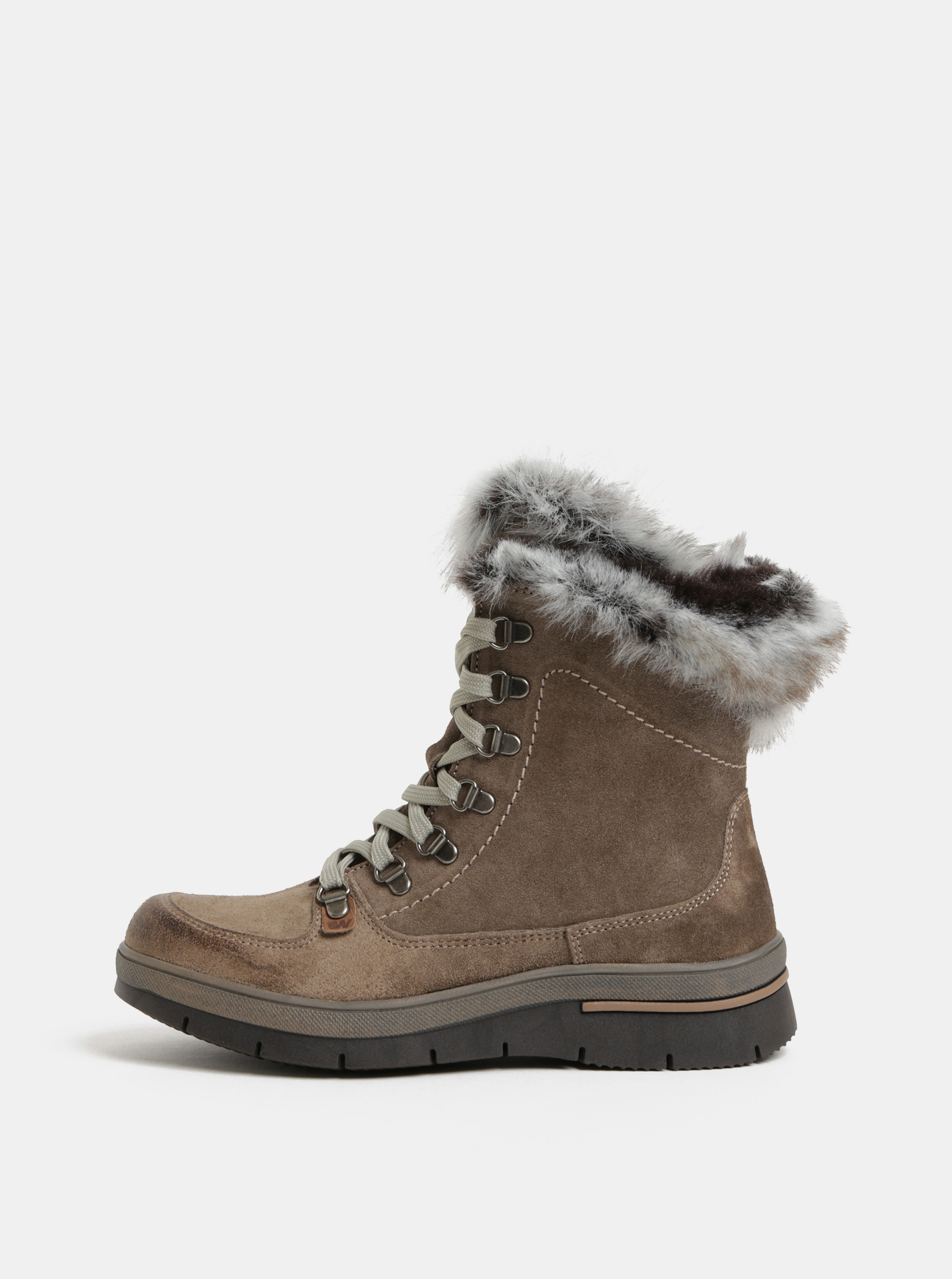 f45650afe2165 Hnedé semišové dámske členkové topánky s vnútornou umelou kožušinou  Weinbrenner ...