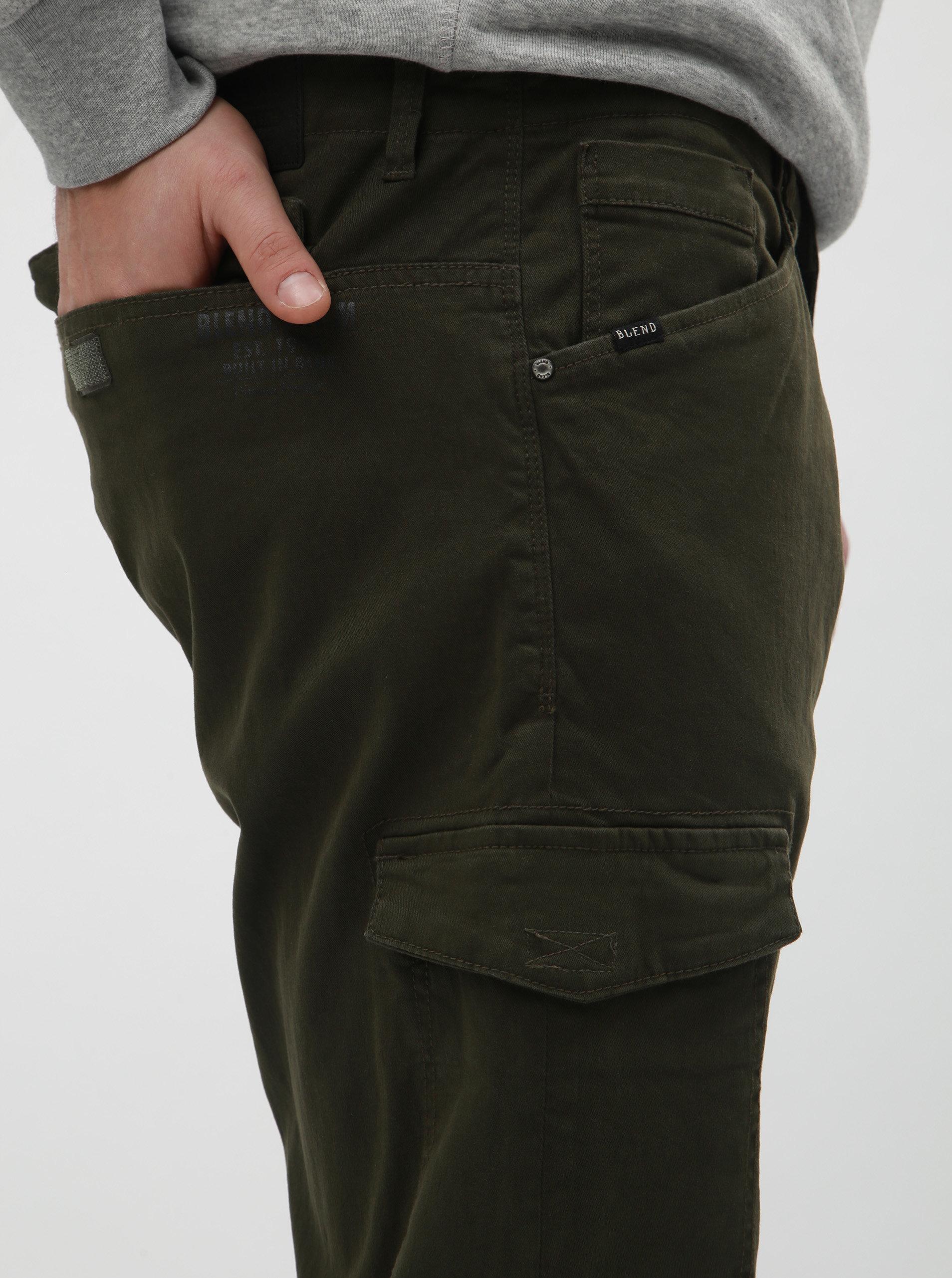 c59a714f4a8 Khaki regular fit kalhoty s kapsami Blend ...