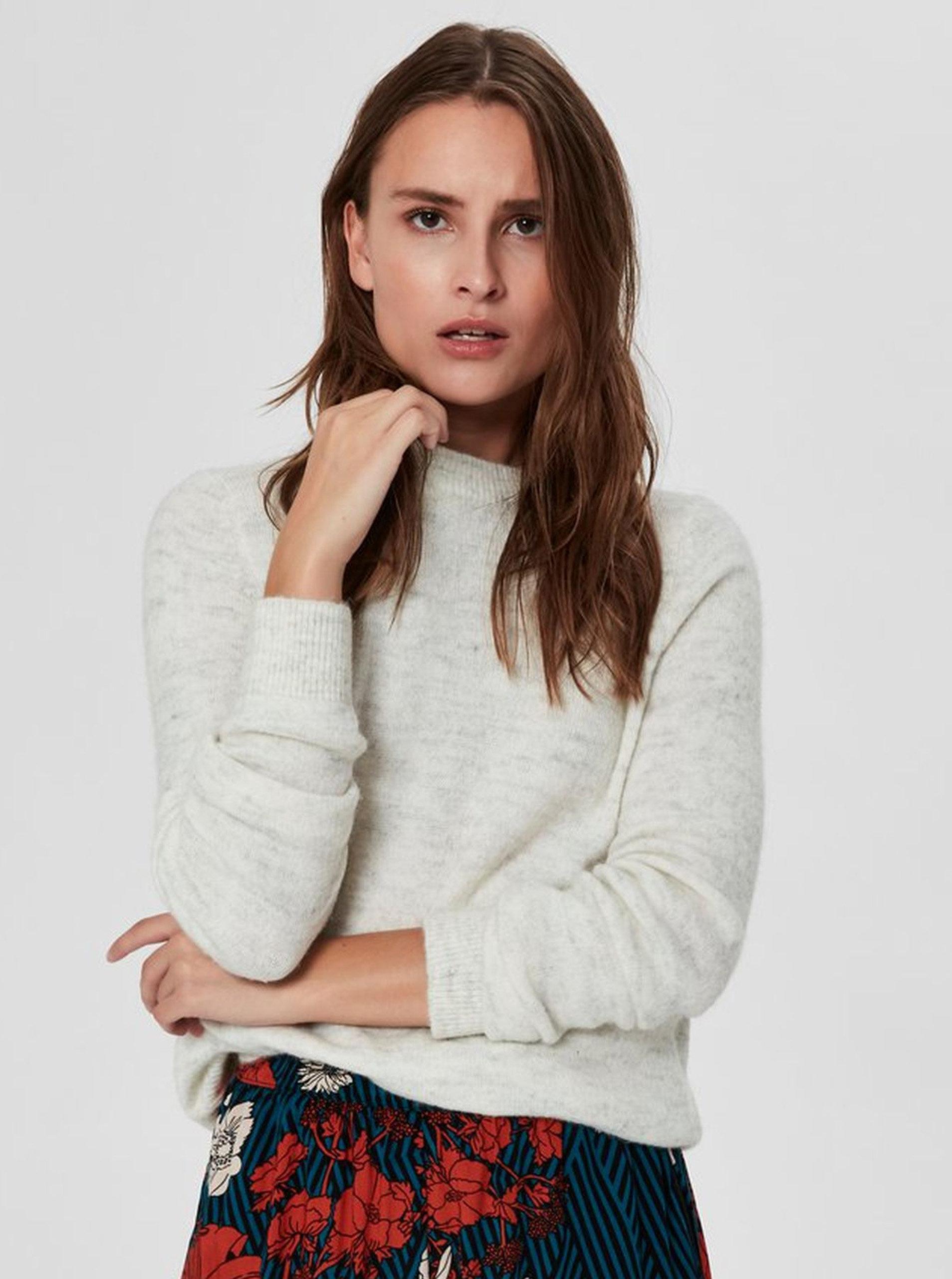 0138f5c1f194 Krémový melírovaný sveter s prímesou vlny Selected Femme Enva ...