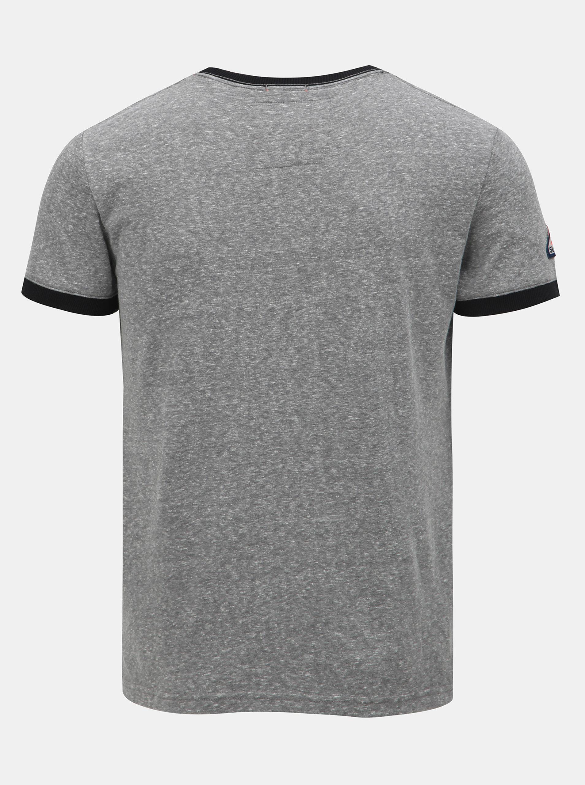 92f0fcbf8a4b Tmavě šedé pánské žíhané tričko s potiskem Superdry ...