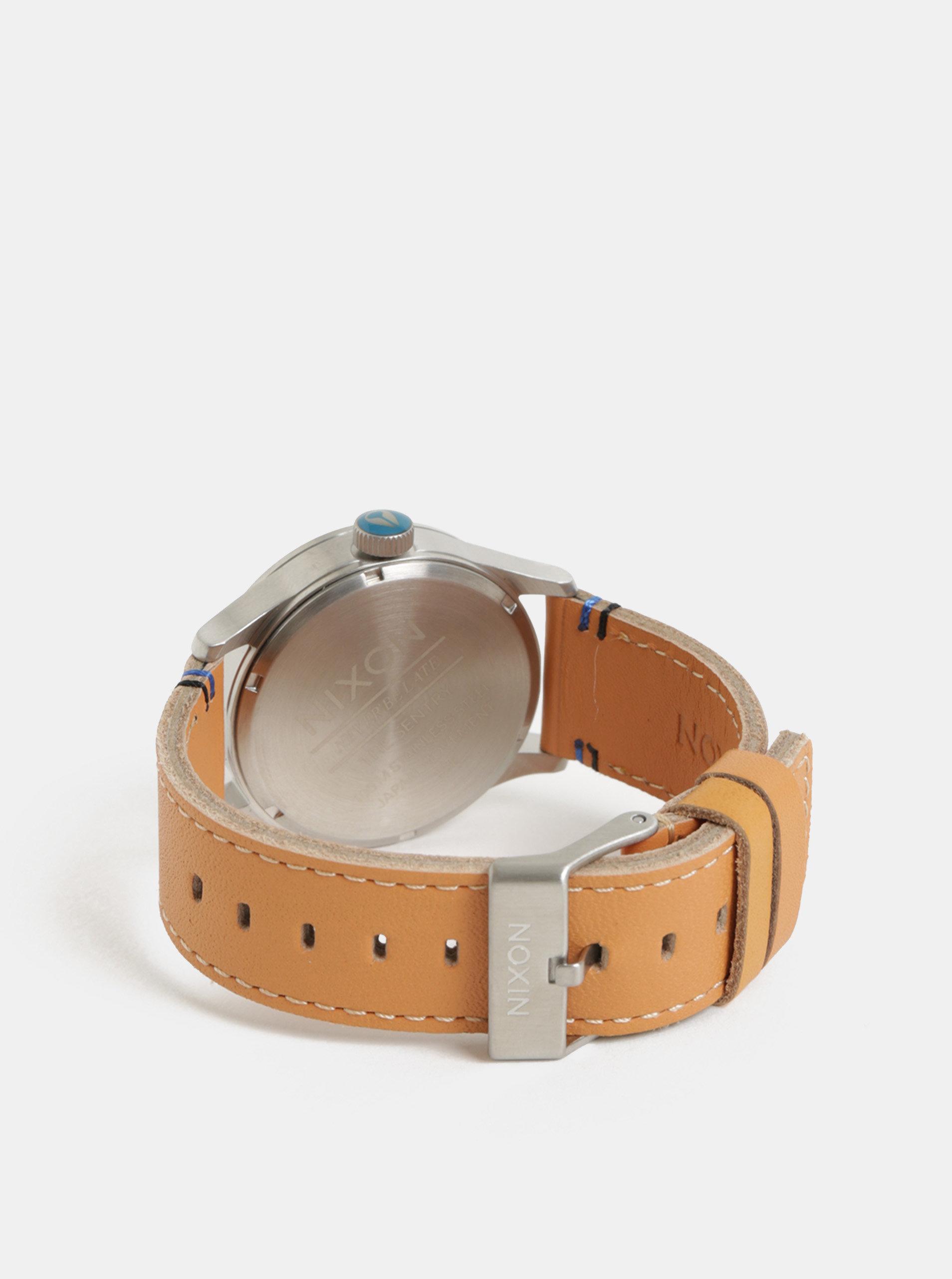 83e3b86d797 Pánske hodinky s hnedým koženým remienkom NIXON ...