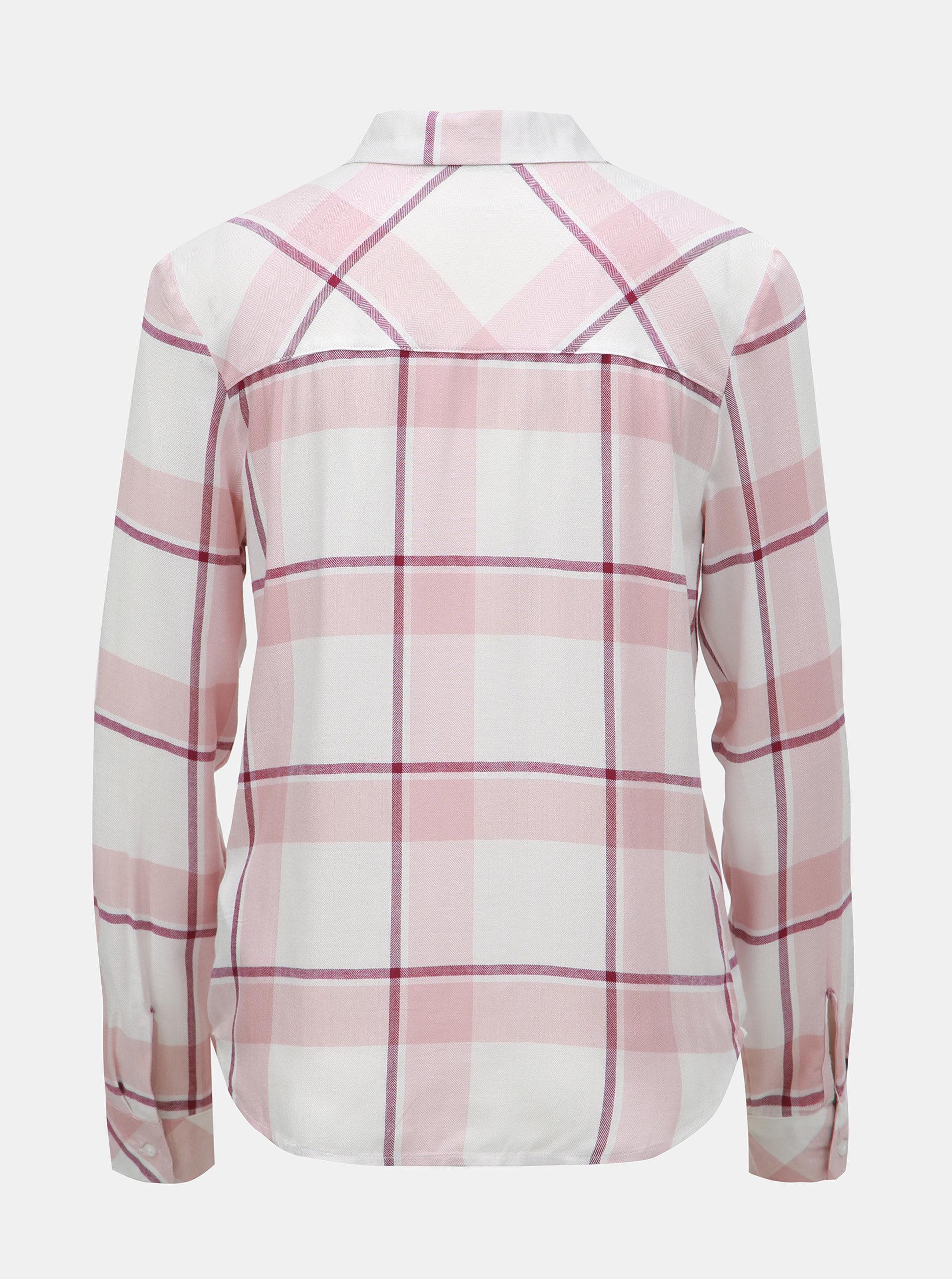 8d284295878 Bílo-růžová kostkovaná košile s náprsními kapsami TALLY WEiJL ...