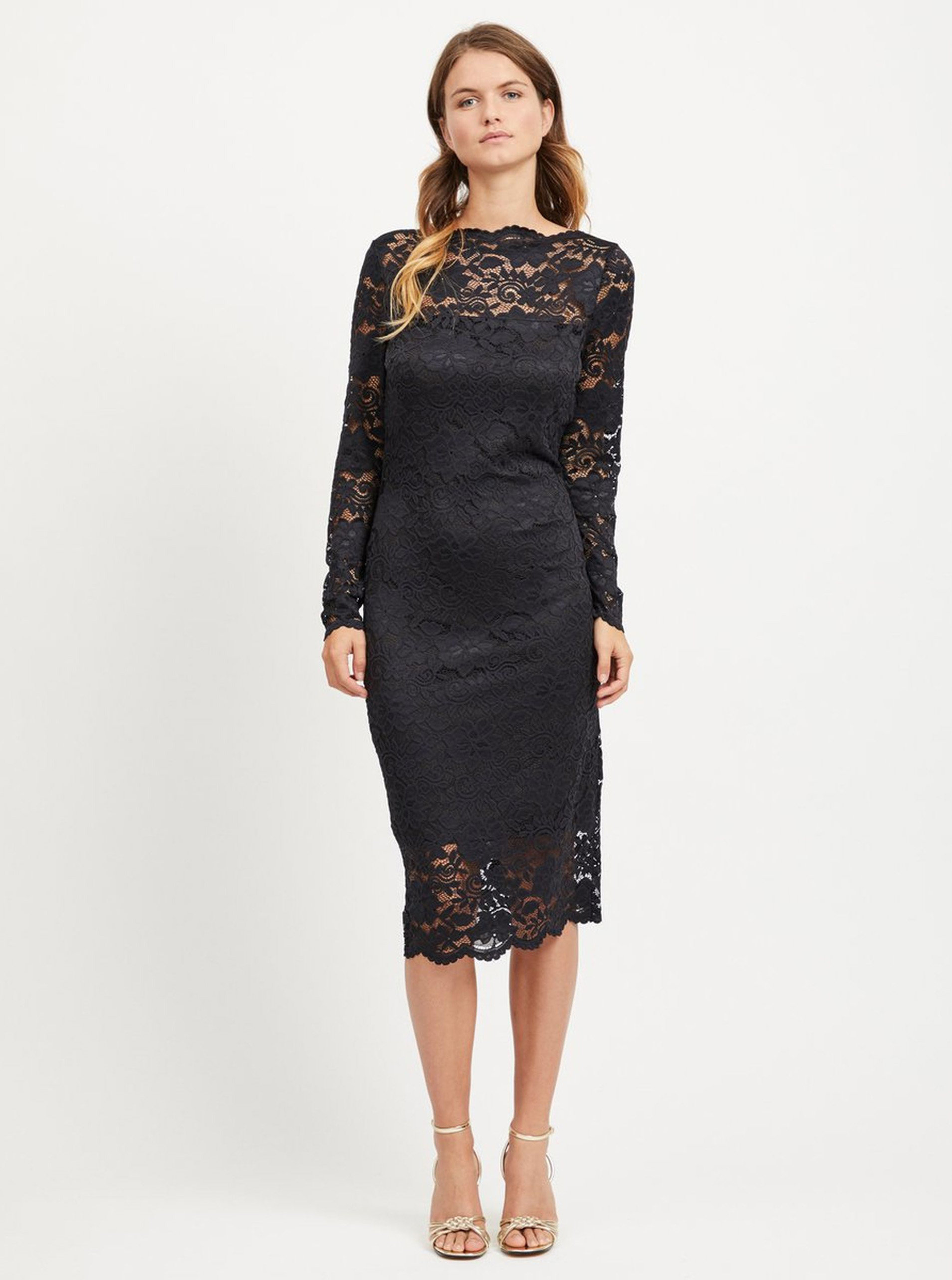 Černé pouzdrové krajkové šaty s dlouhým rukávem VILA Grit ... b4a18ce608
