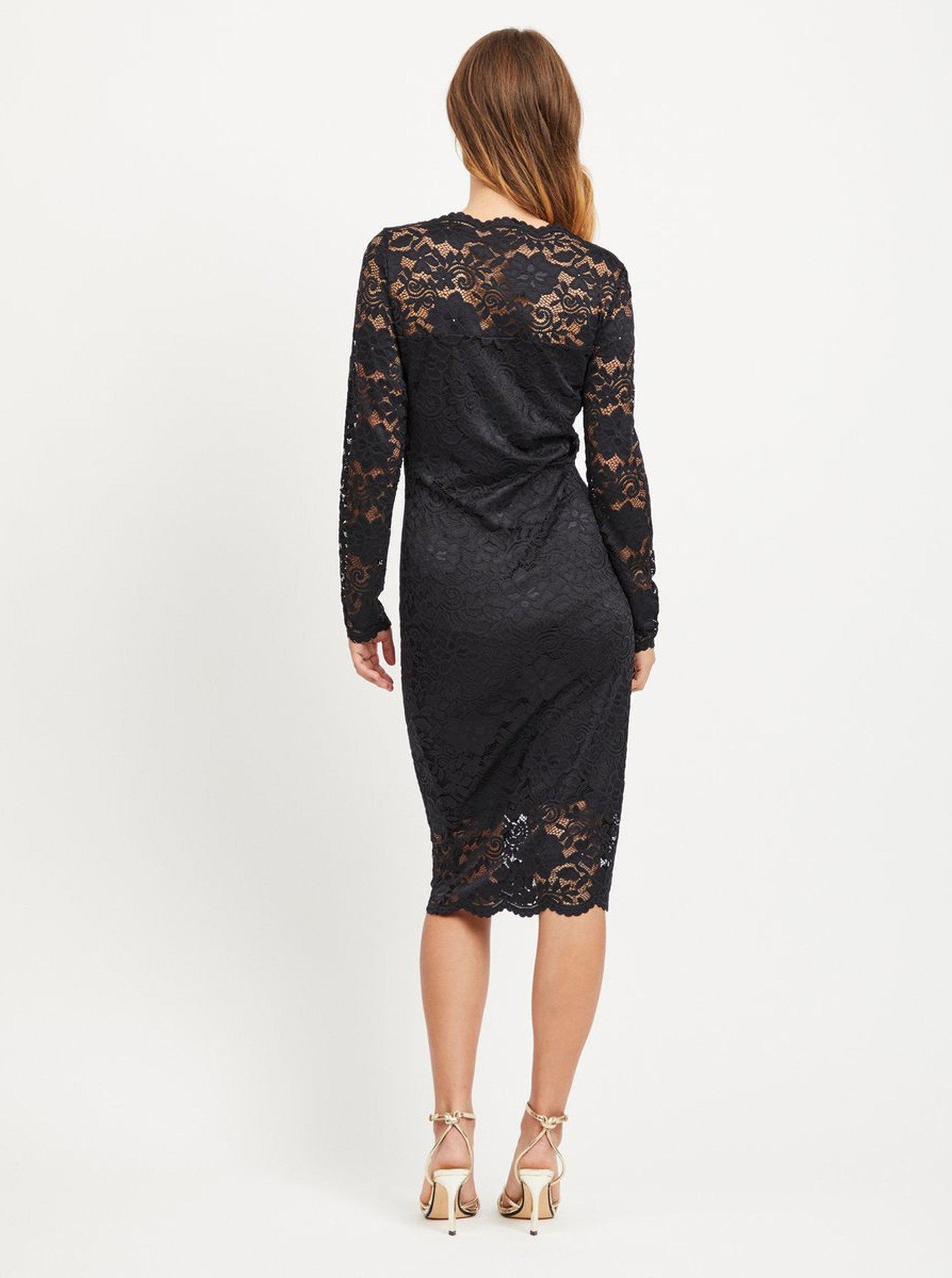 f0c5a4d7c93 Černé pouzdrové krajkové šaty s dlouhým rukávem VILA Grit ...