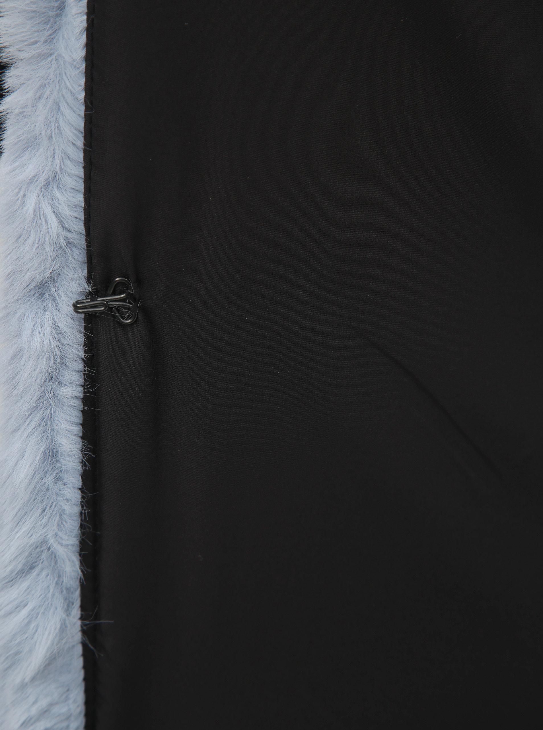 Svetlomodrý krátky kabát z umelej kožušinky TALLY WEiJL ... ade70b34a47
