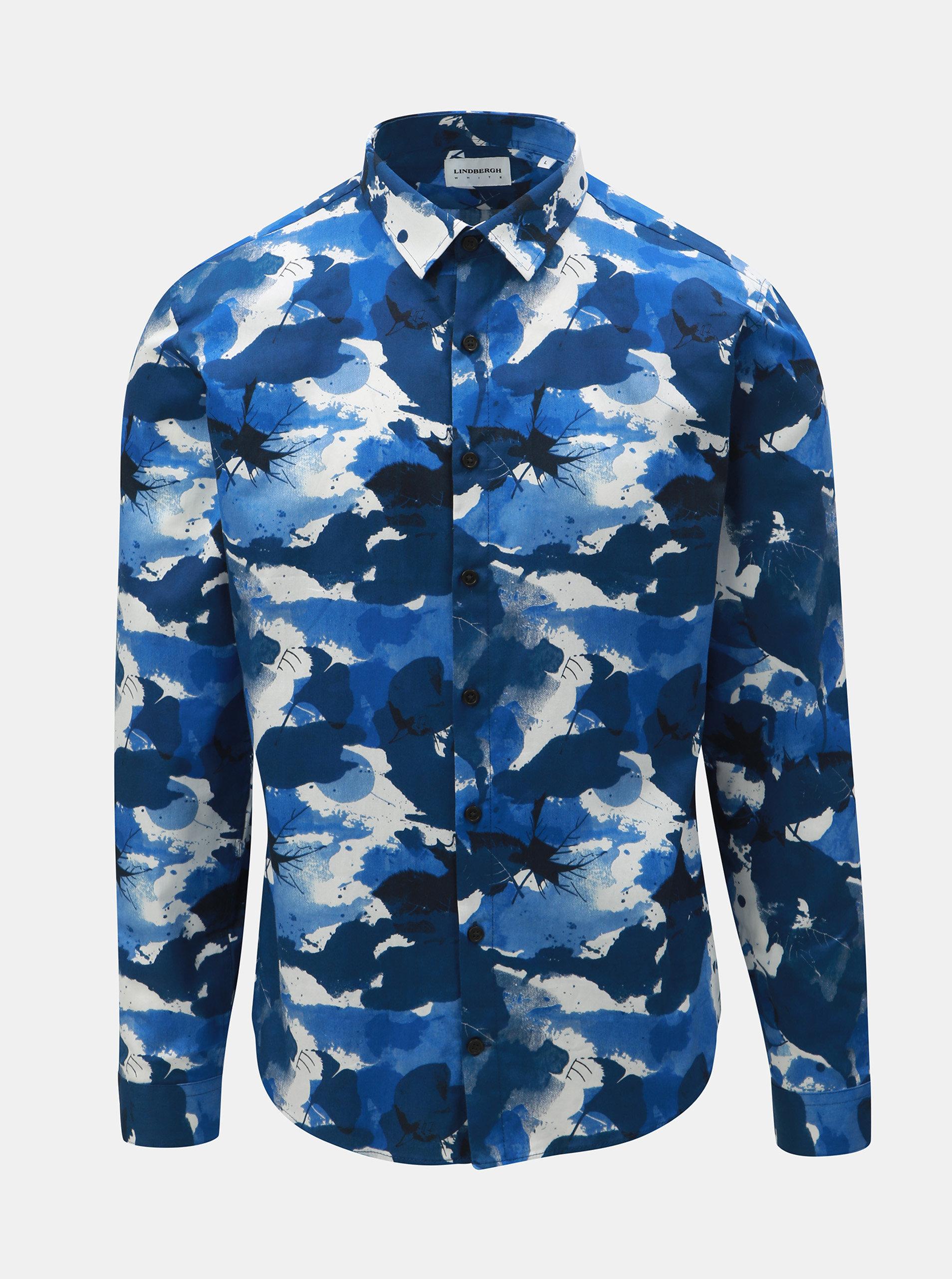 836eee00d529 Bielo–modrá vzorovaná košeľa s dlhým rukávom Lindbergh ...