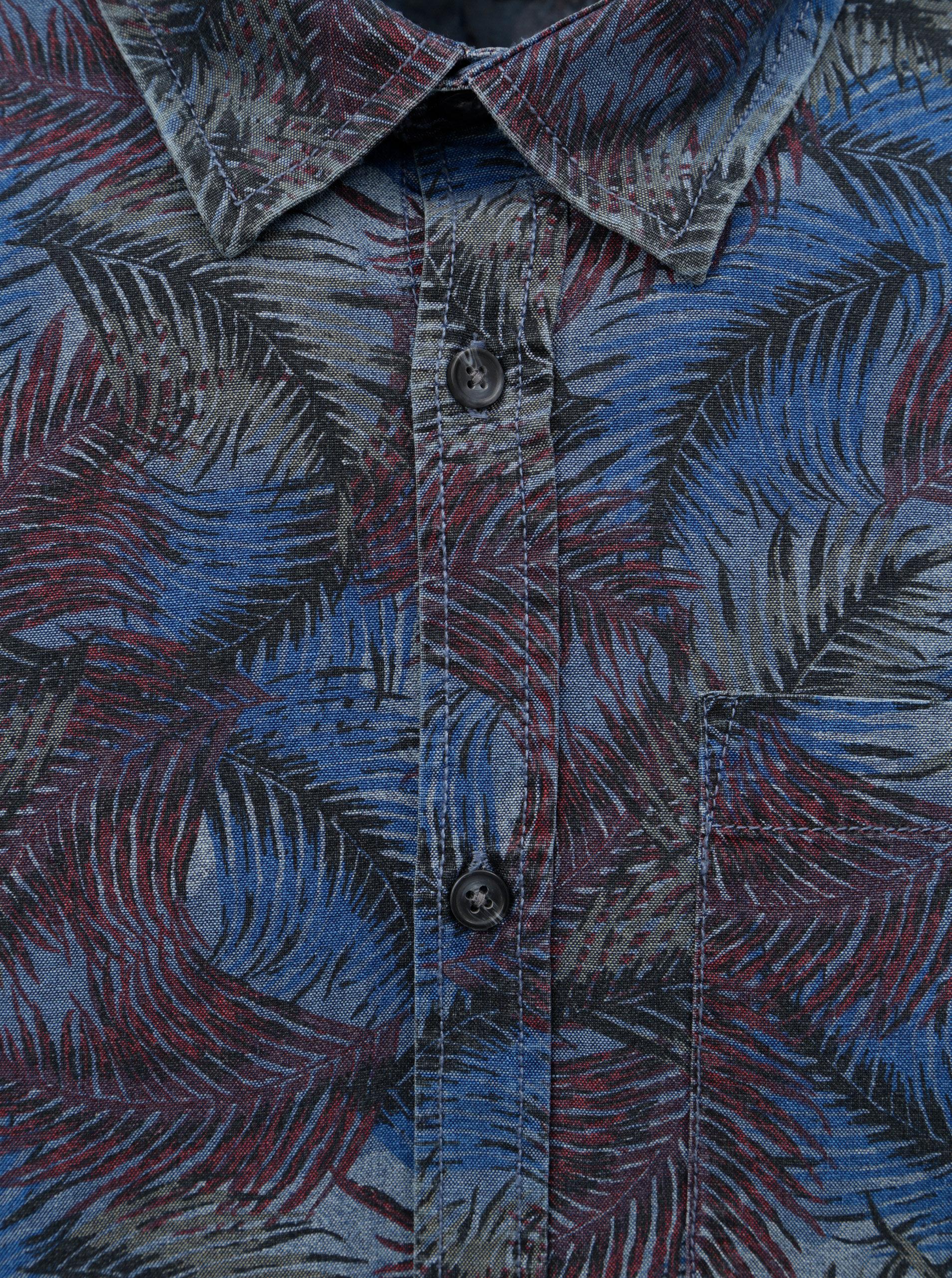 Vínovo-modrá košile s motivem listů Shine Original ... 0c62207aa6