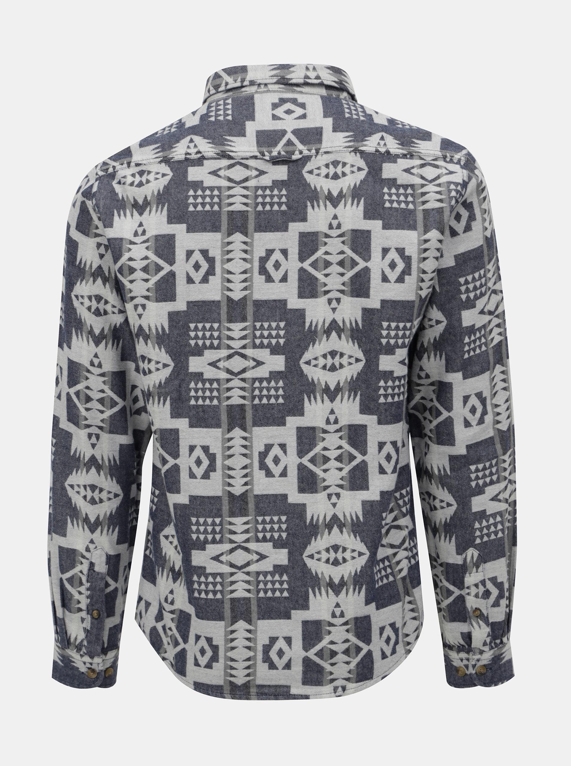 Krémovo-modrá vzorovaná košile s kapsami Shine Original ... 7ad13434c6