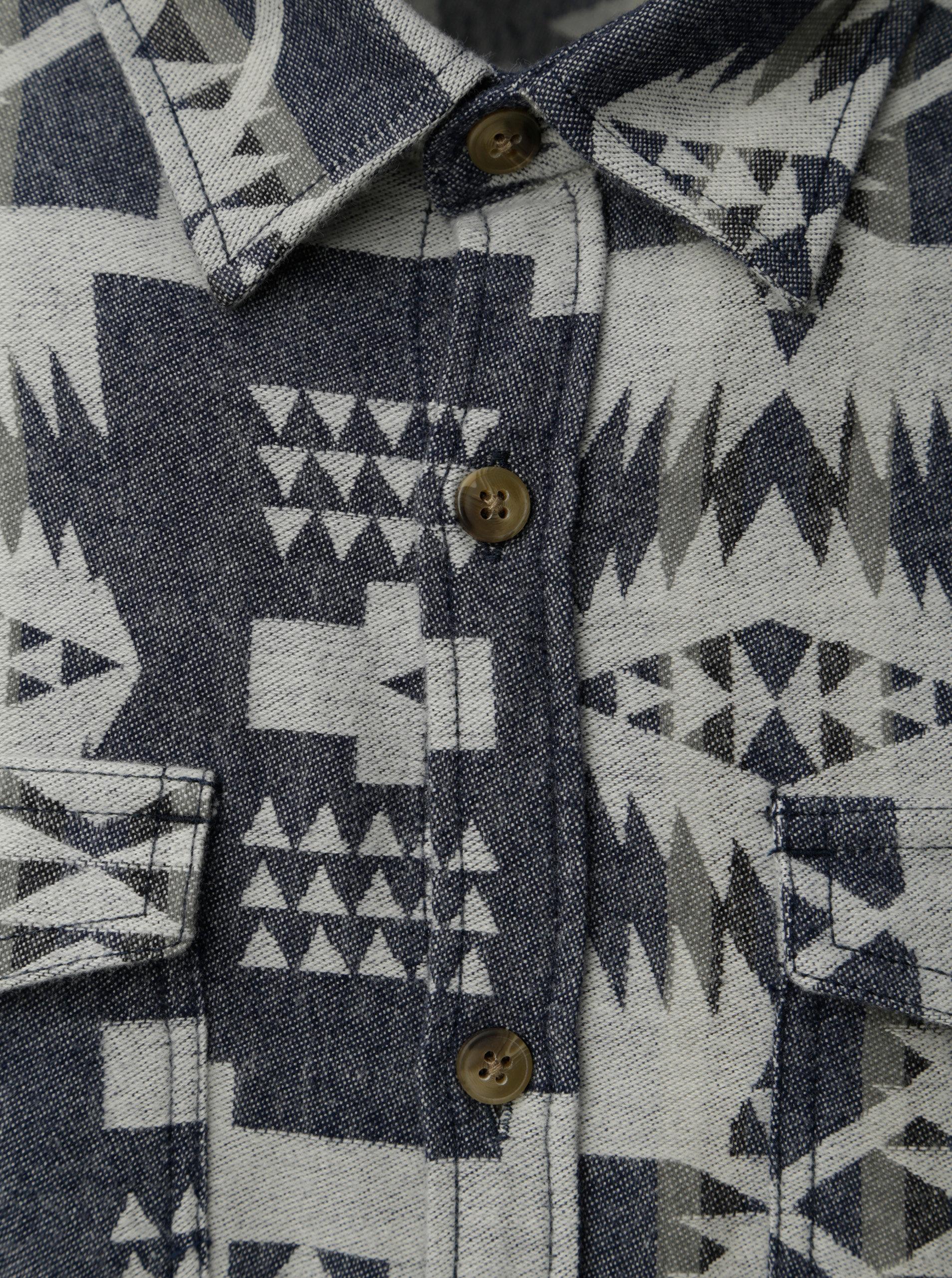 67aec91b9055 Krémovo–modrá vzorovaná košeľa s vreckami Shine Original ...