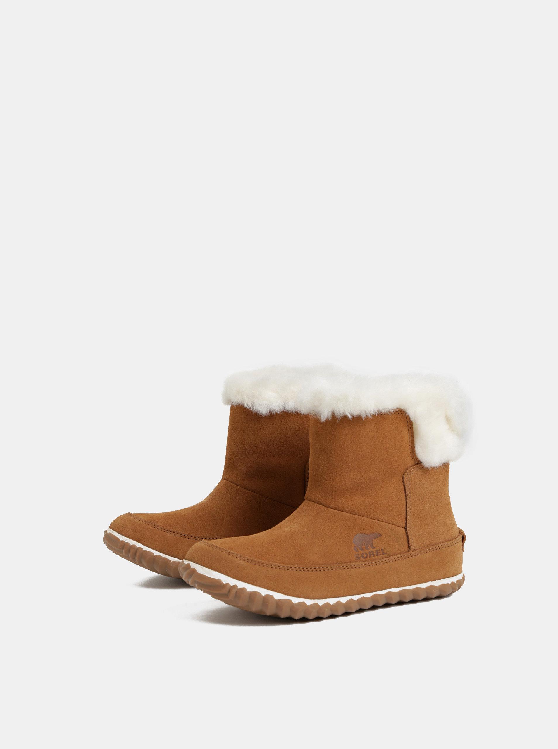 997eb55437813 Hnedé dámske semišové zimné členkové topánky s vnútornou umelou kožušinkou  SOREL OUT N ABOUT ...