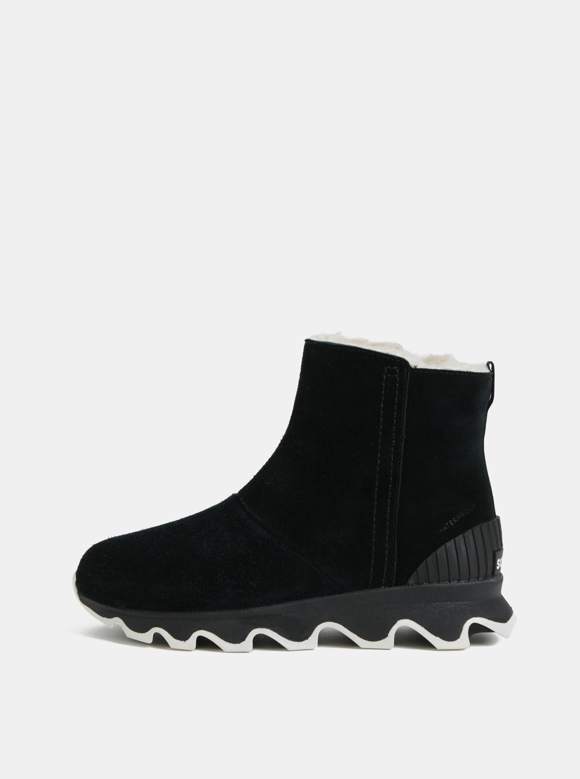 9fa4f584a654 Čierne dámske zimné členkové nepremokavé topánky v semišovej úprave SOREL  Kinetic ...