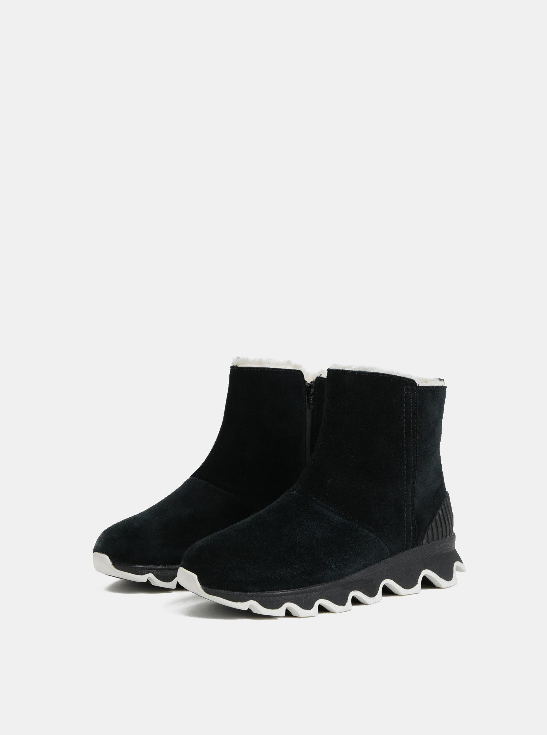 8029bae16e Čierne dámske zimné členkové nepremokavé topánky v semišovej úprave SOREL  Kinetic ...
