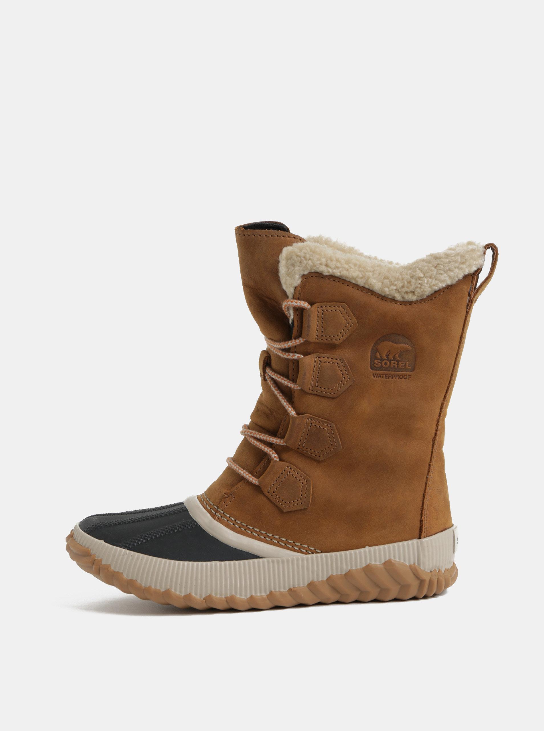 Hnedá dámske semišové nepremokavé zimné topánky SOREL Newbie ... 8eeb4a6b567