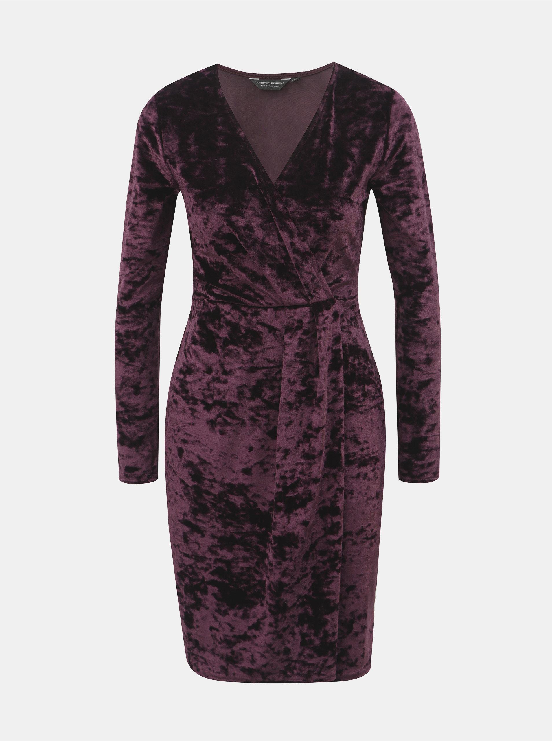 Fialové zamatové šaty s prekladaným výstrihom Dorothy Perkins ... 8cc764d641d