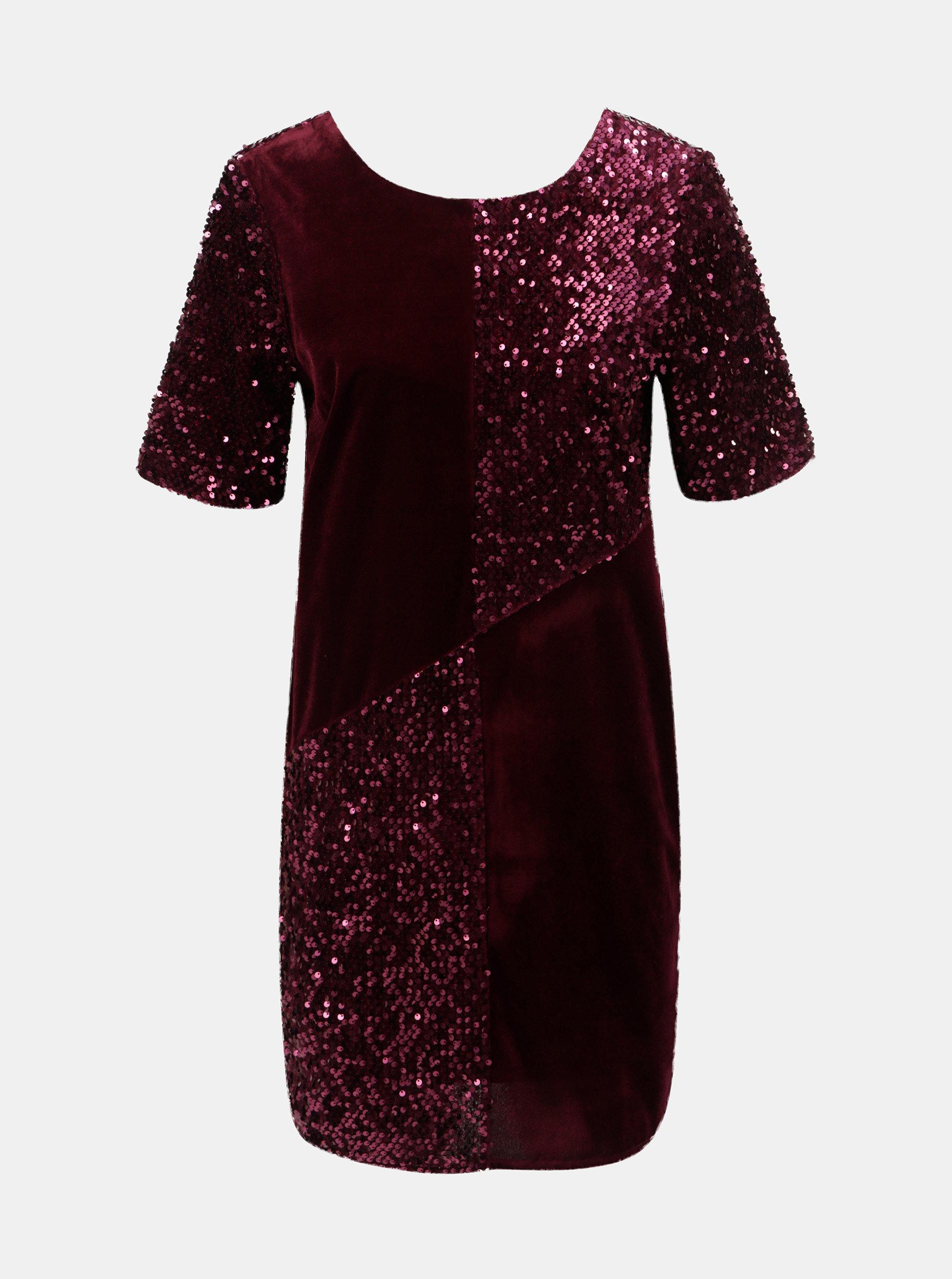 125fc30356d Vínové sametové flitrované šaty Dorothy Perkins ...