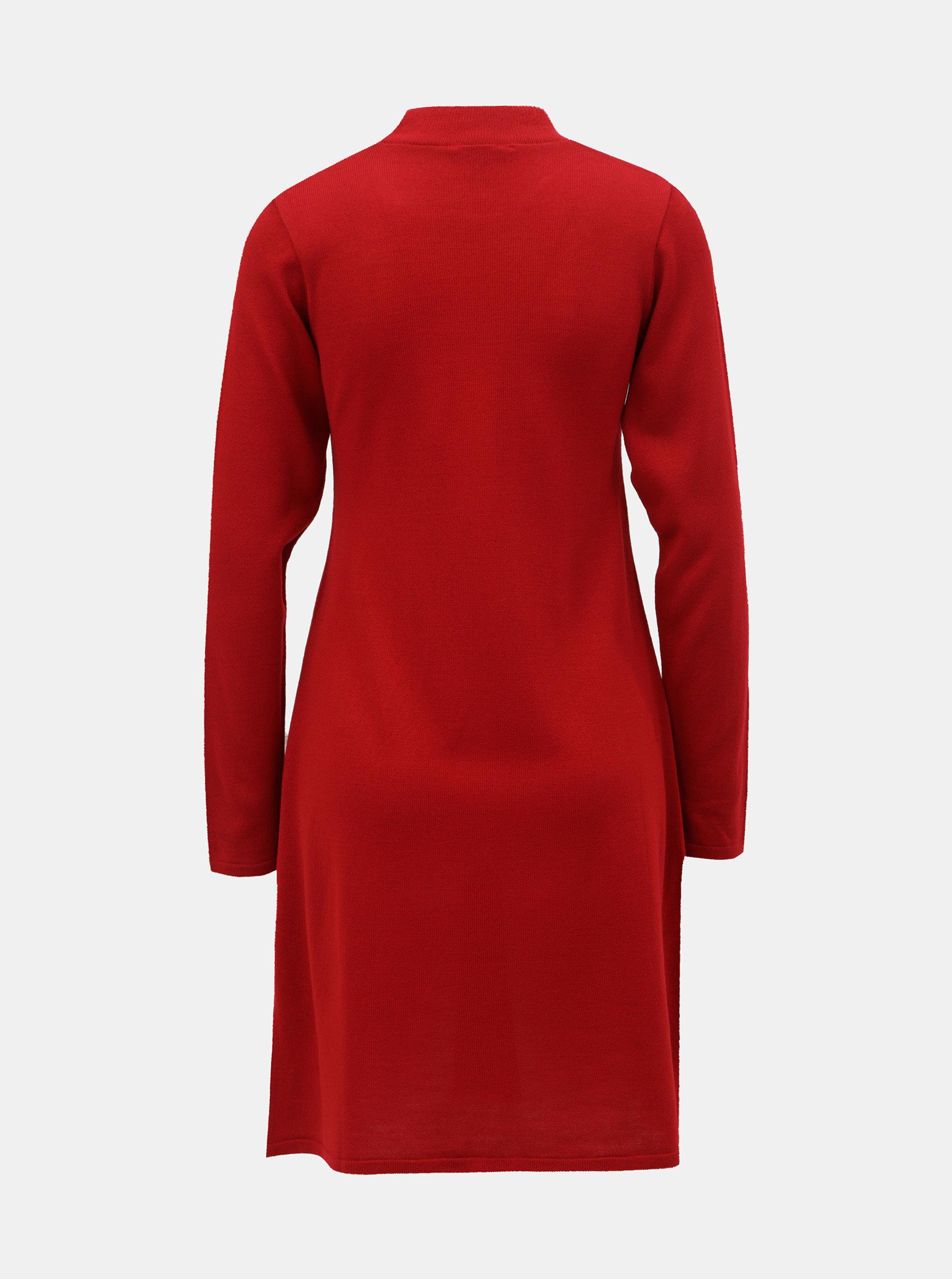 568c55070101 Červené svetrové šaty so stojačikom Dorothy Perkins ...