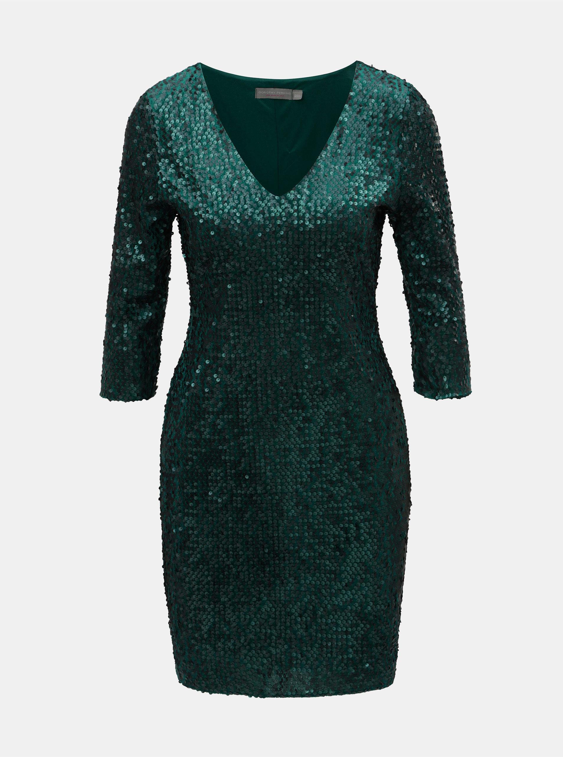 4c049efa19 Tmavozelené flitrované šaty s 3 4 rukávom Dorothy Perkins Petite ...